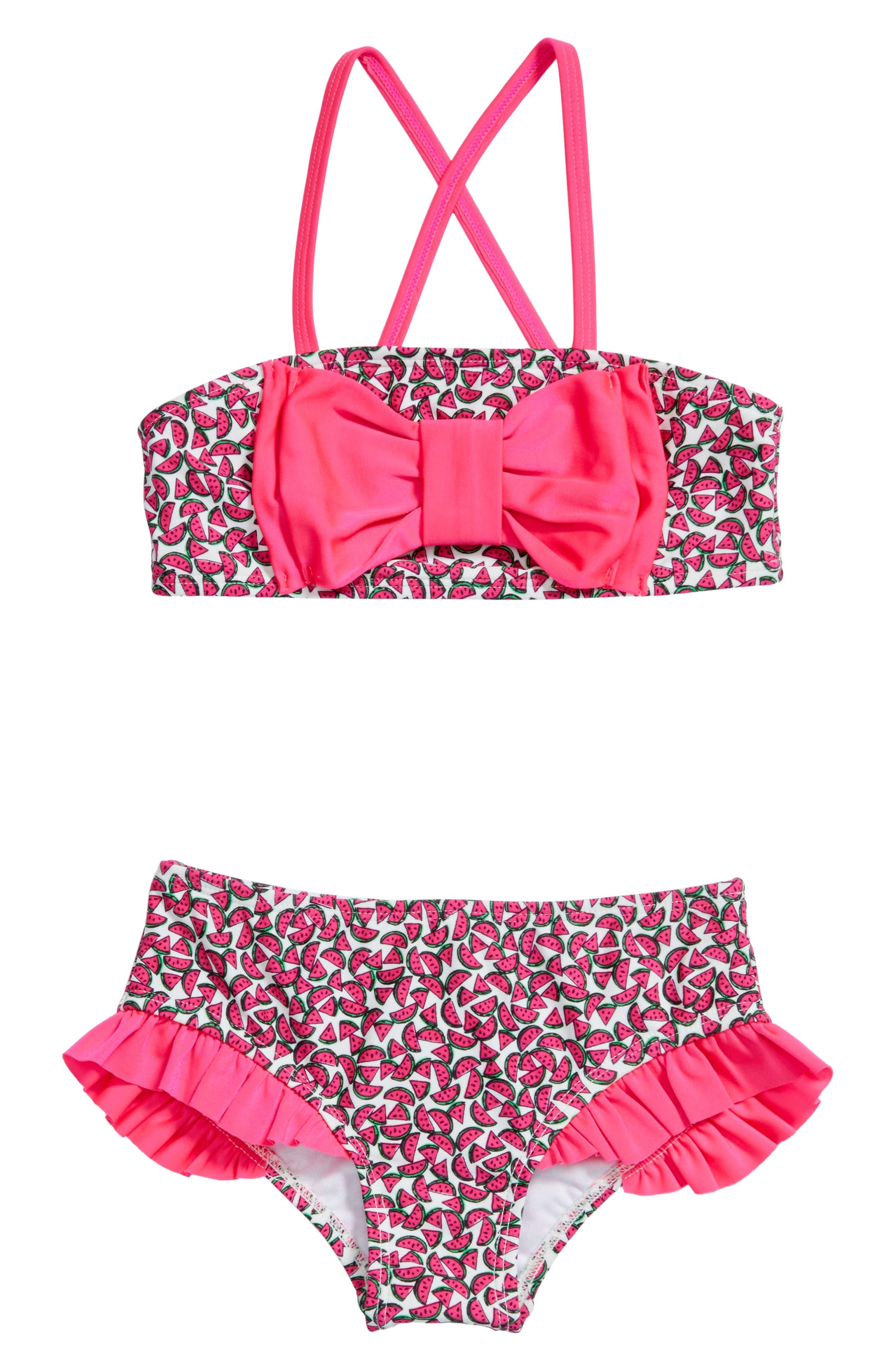 Watermelon Two-Piece Swimsuit,                             Main thumbnail 1, color,                             Cream/ Multi