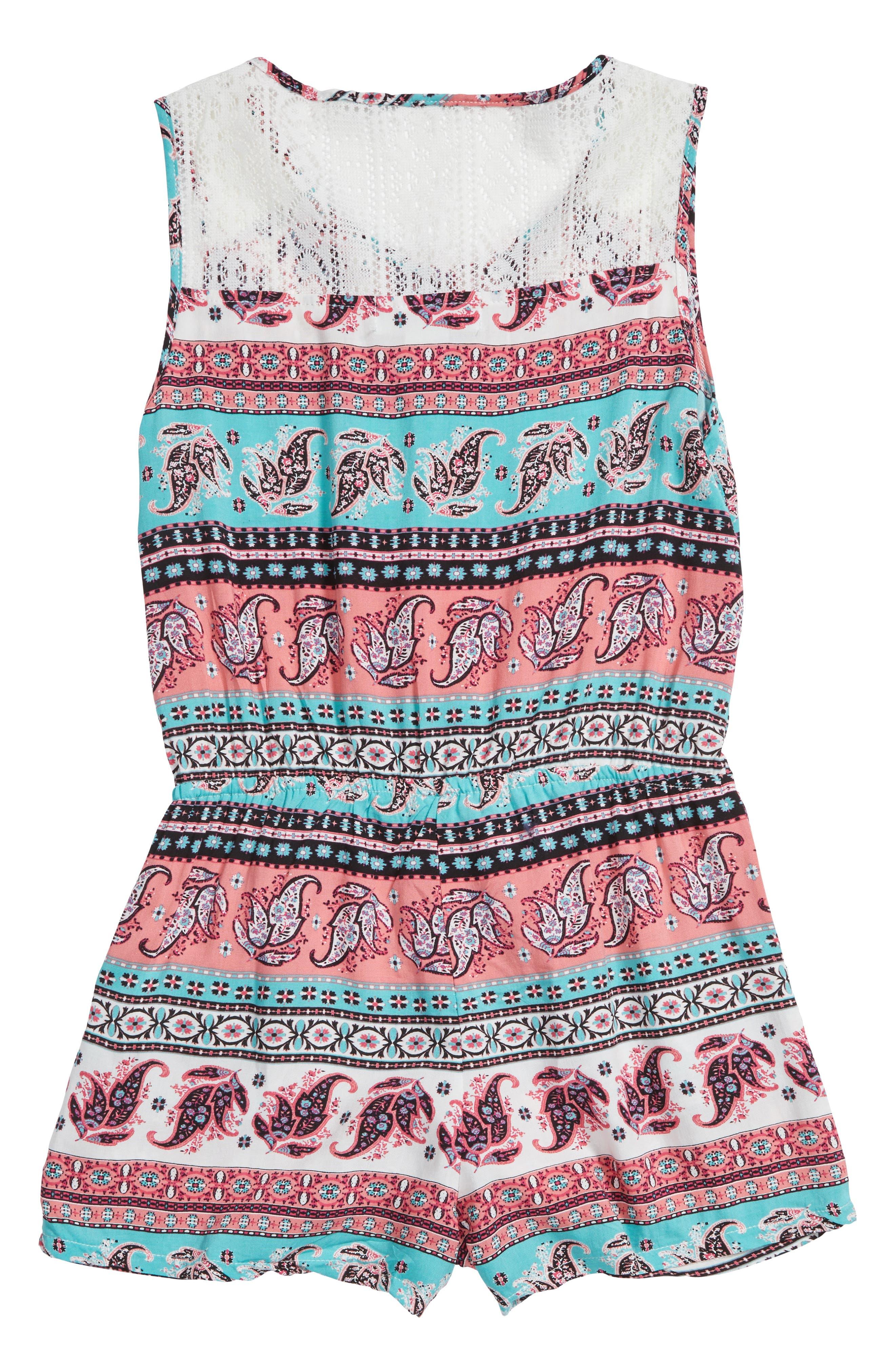 Lace Back Romper,                             Alternate thumbnail 2, color,                             Coral/ Mint