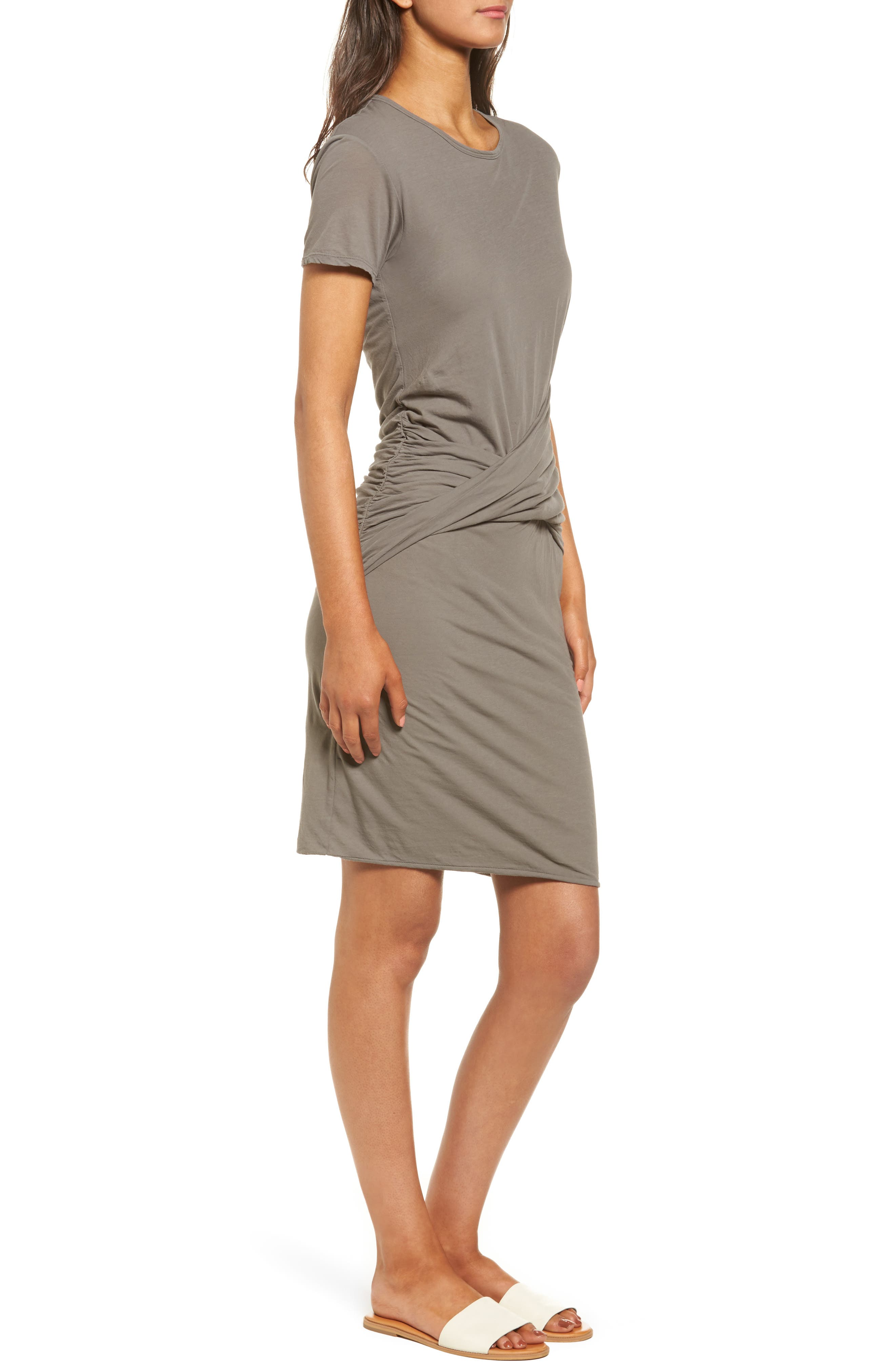 Twisted Drape T-Shirt Dress,                             Alternate thumbnail 3, color,                             Shale