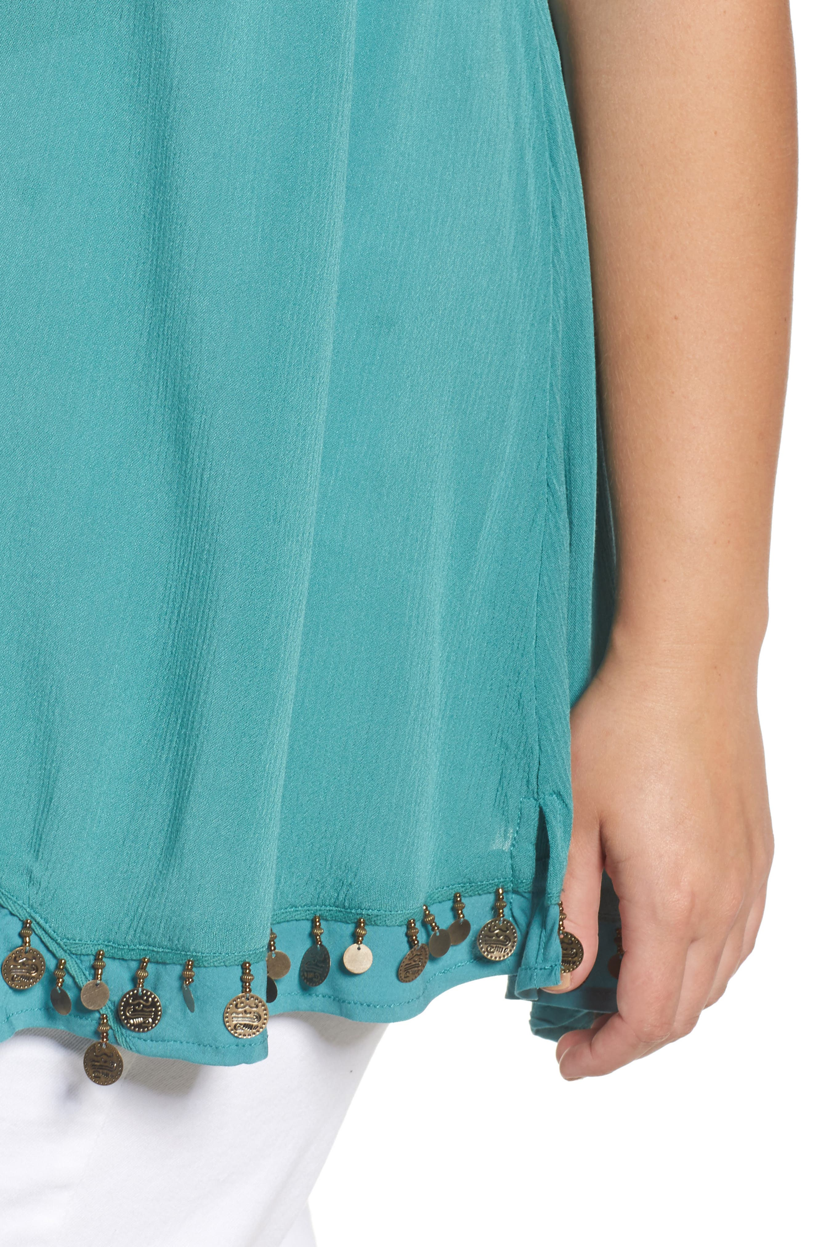 Coin Detail Asymmetrical Double Layer Tank,                             Alternate thumbnail 4, color,                             Bright Teal