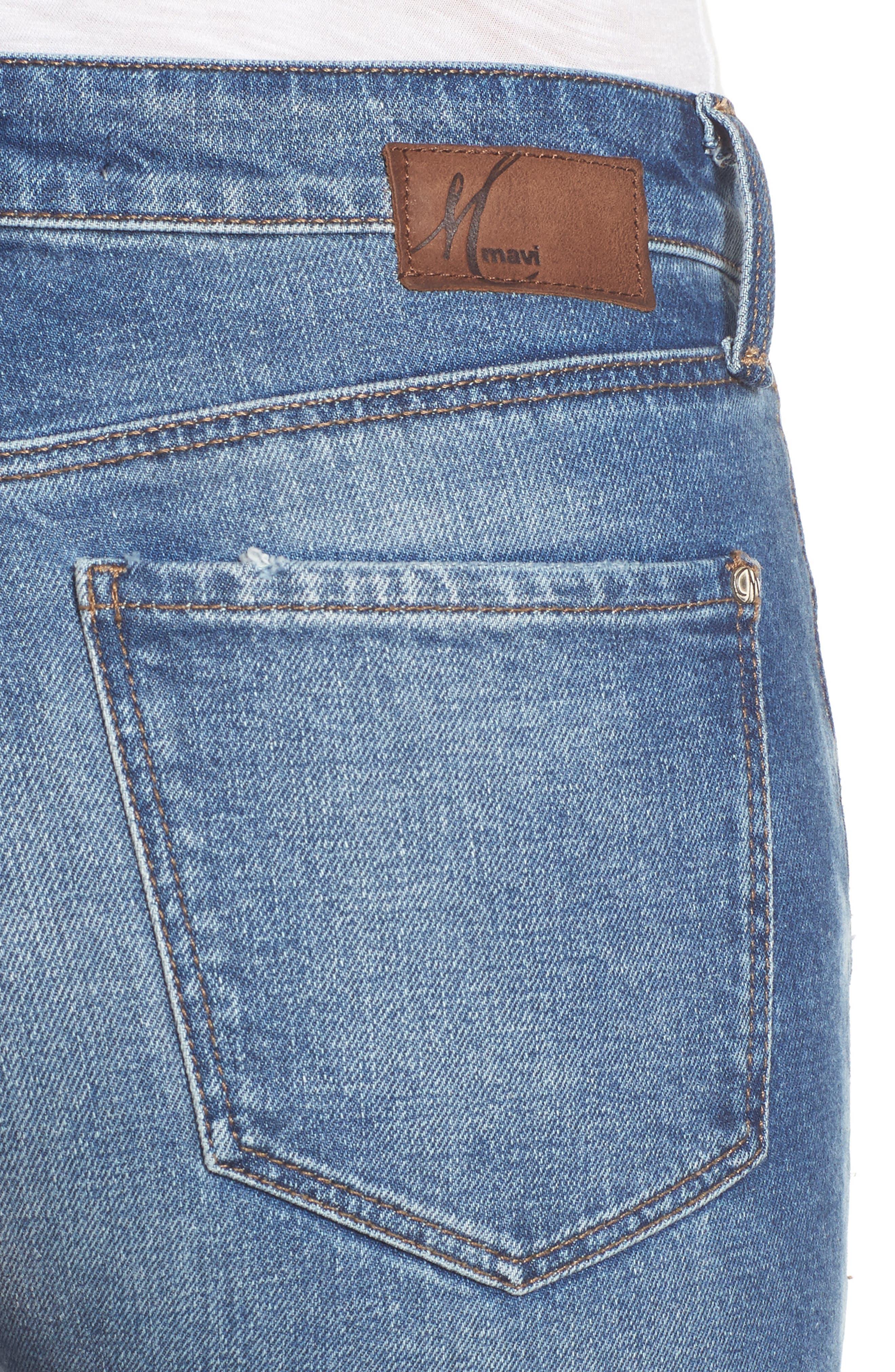 Alternate Image 4  - Mavi Jeans Lucy Ripped Skinny Jeans (Foggy)