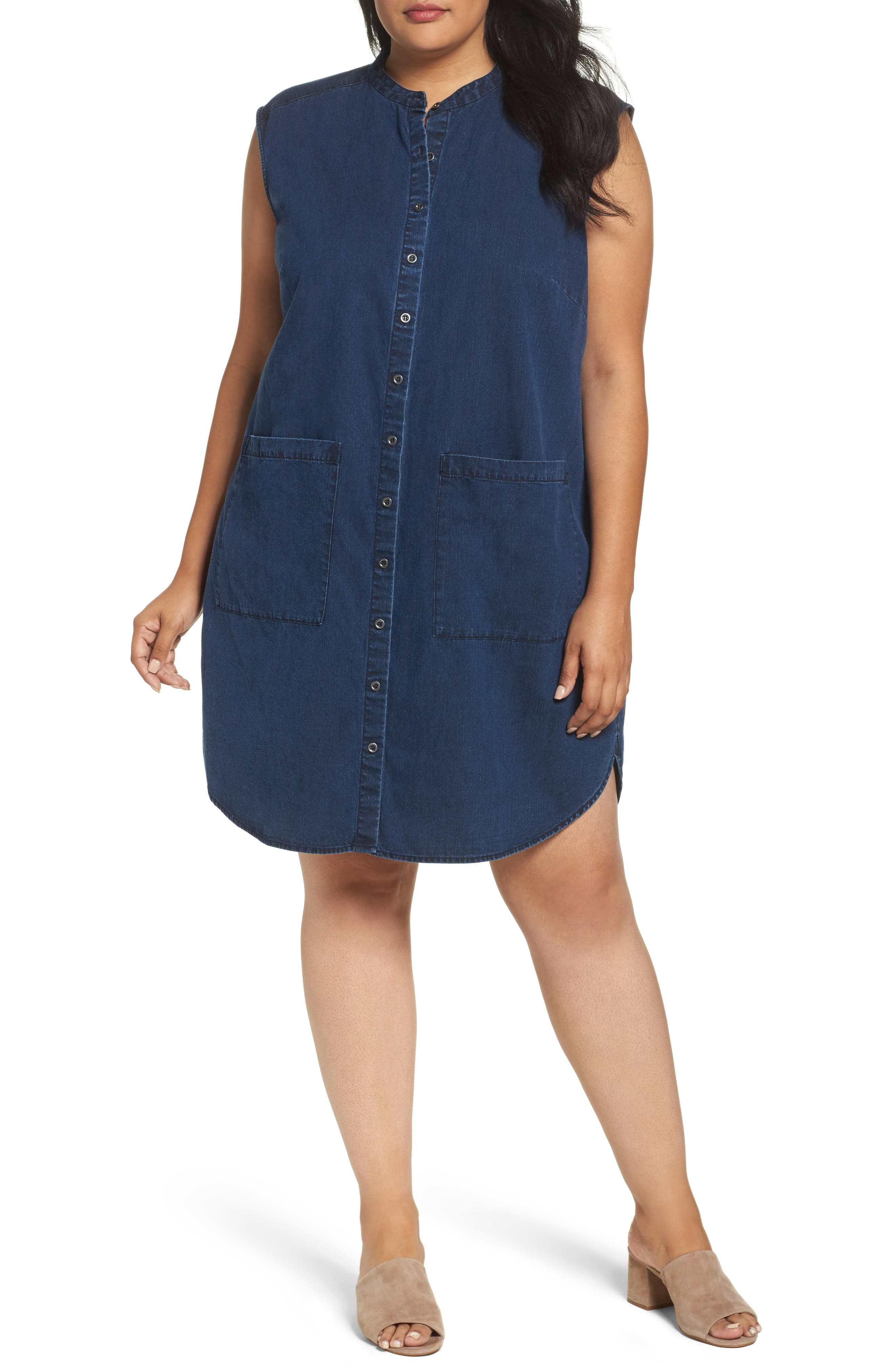 Eileen Fisher Lightweight Denim Shirtdress (Plus Size)