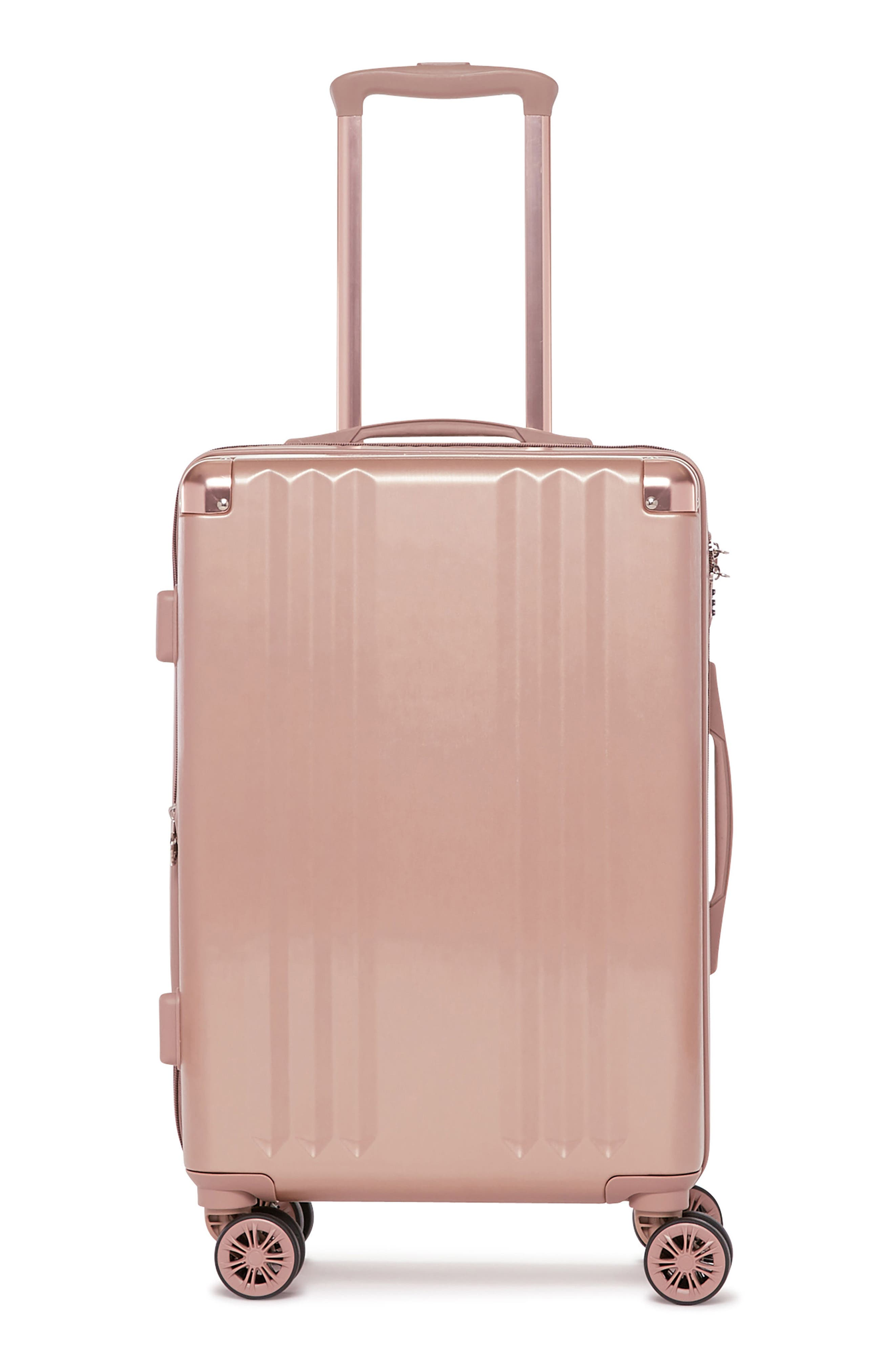 Ambeur 20-Inch Rolling Spinner Carry-On,                             Main thumbnail 1, color,                             Rose Gold