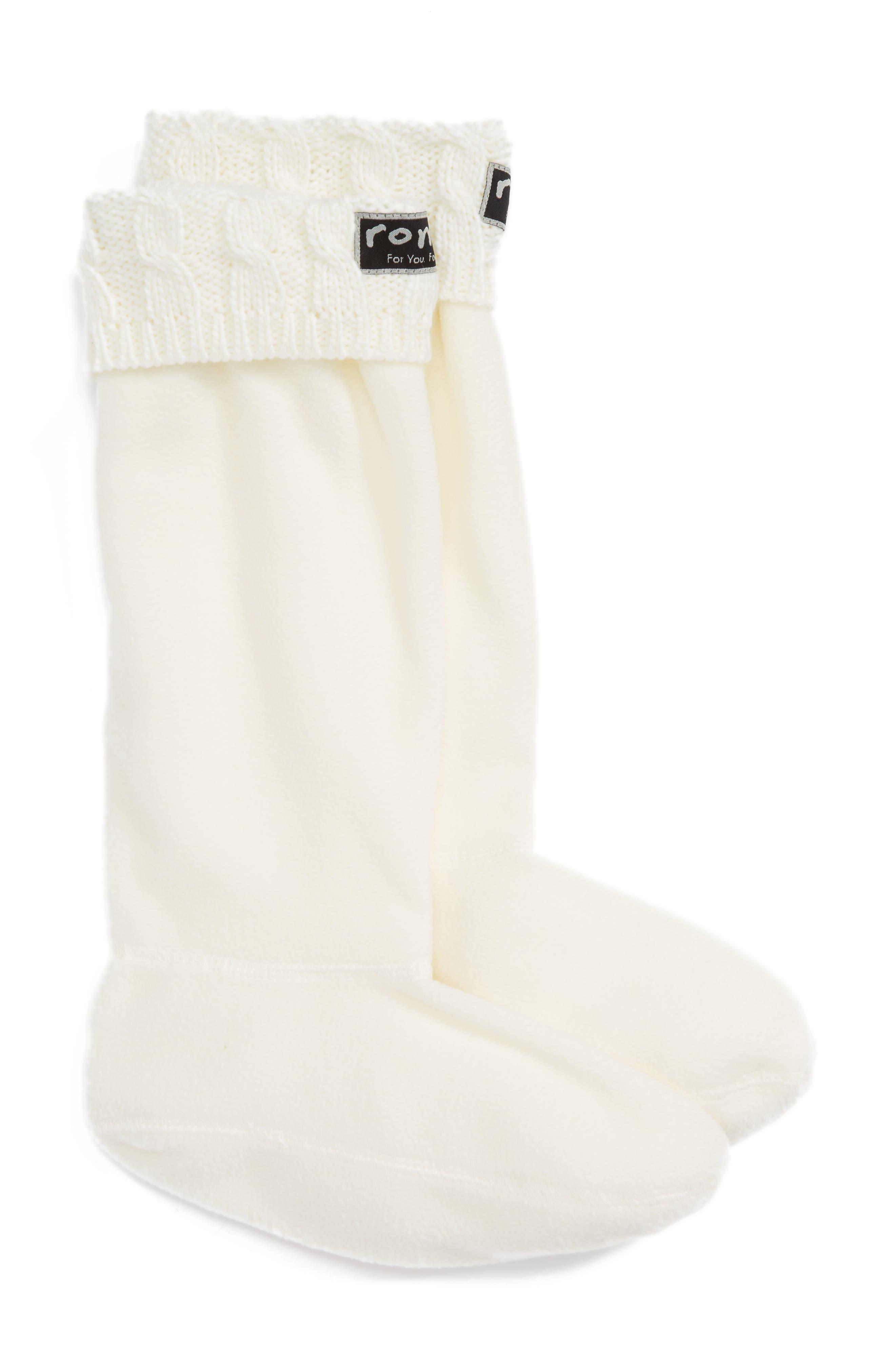 Knit Collar Fleece Boot Socks,                         Main,                         color, Cream