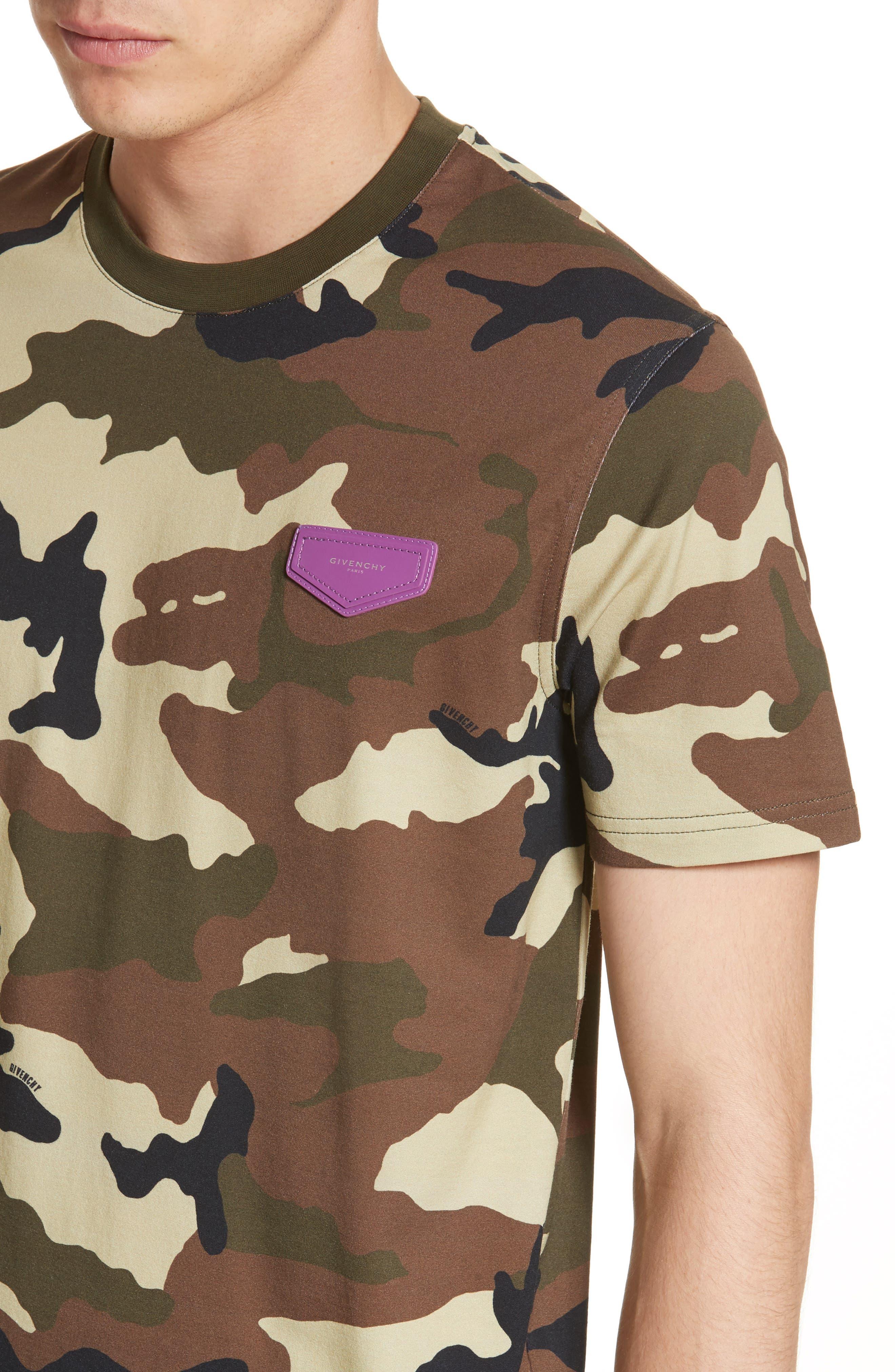 Extra Trim Fit Camo Print T-Shirt,                             Alternate thumbnail 4, color,                             Camo