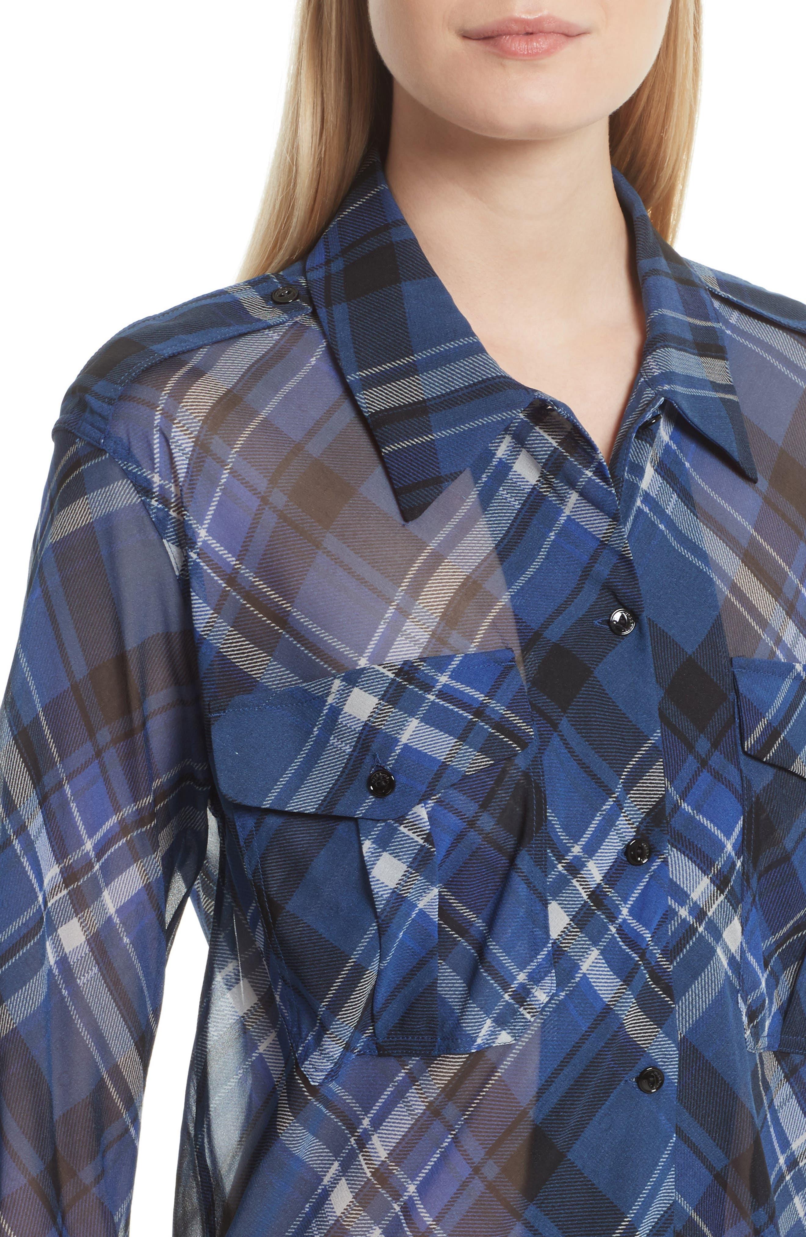 Alternate Image 4  - rag & bone Mason Plaid Stretch Silk Shirt