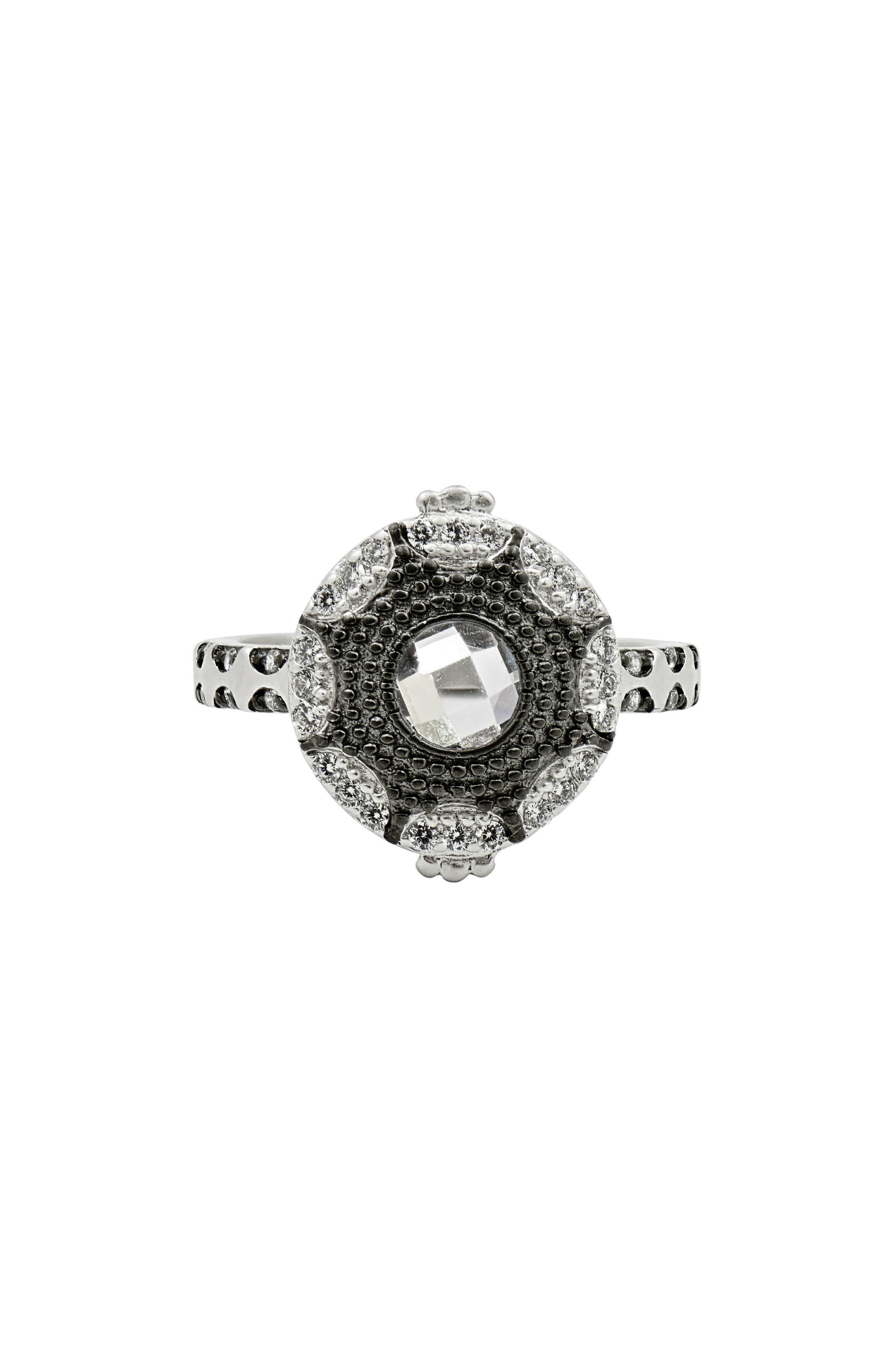 Signature Starburst Ring,                         Main,                         color, Silver/ Black