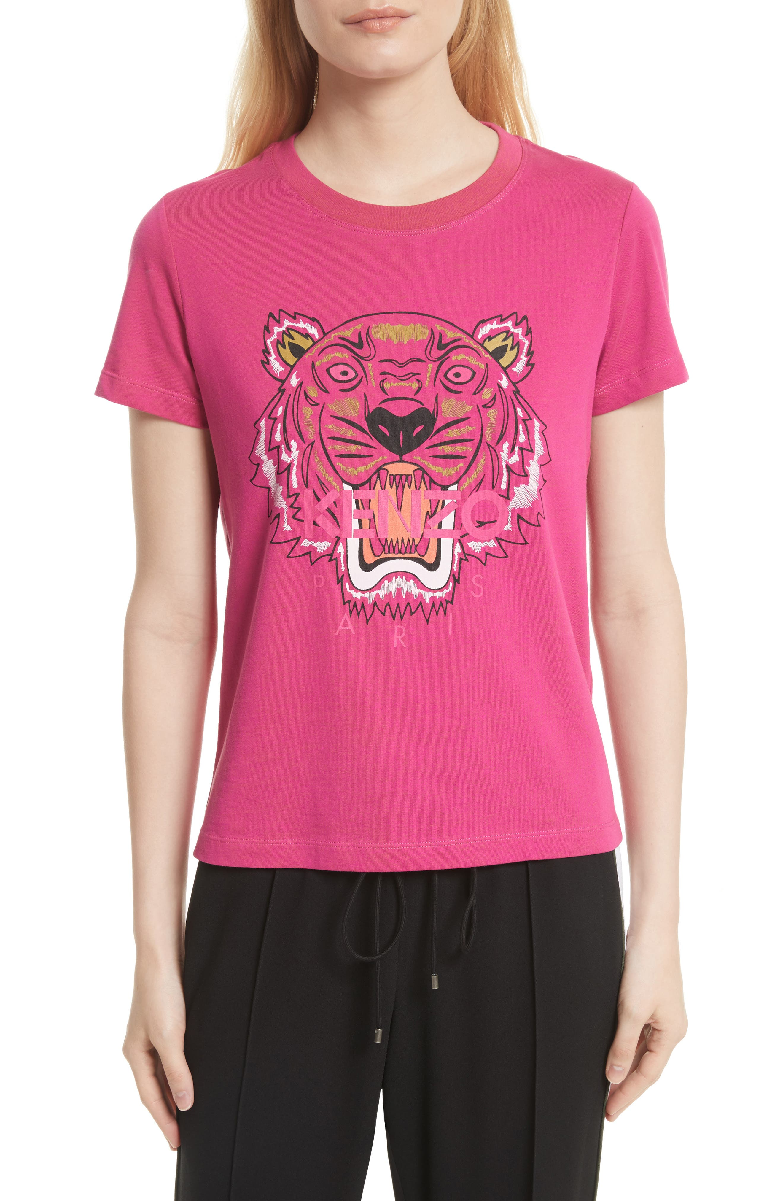 Tiger Print Cotton Tee,                         Main,                         color, Deep Fucshia