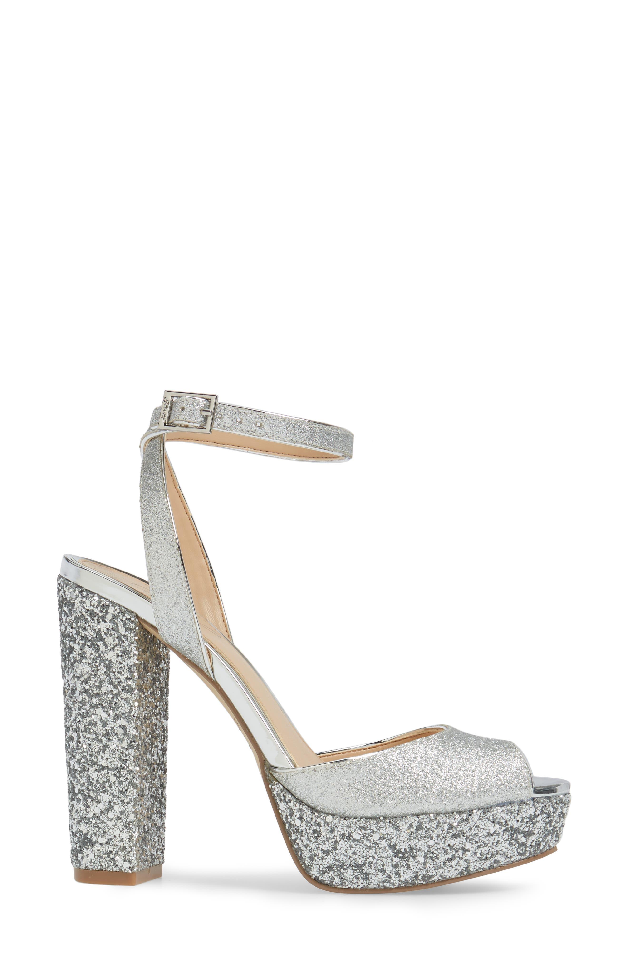 Luke Platform Sandal,                             Alternate thumbnail 3, color,                             Silver Leather