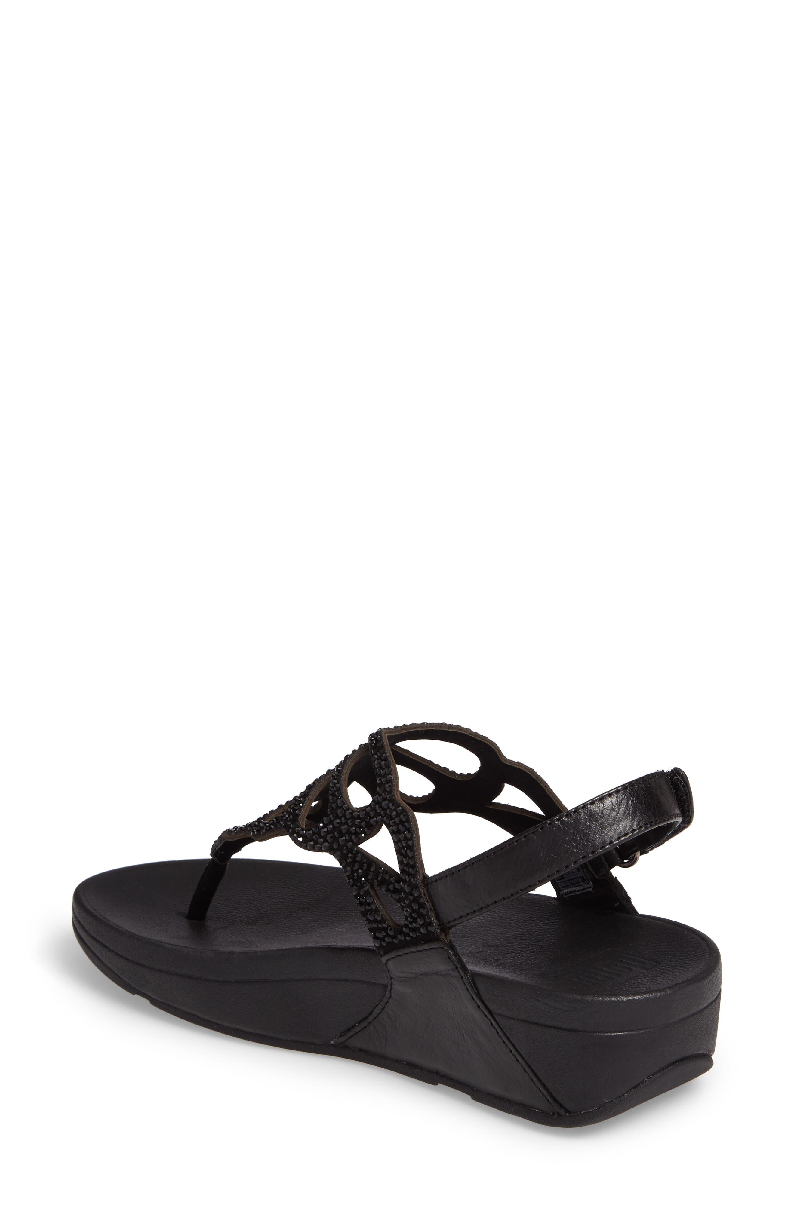 Bumble Crystal Embellished Sandal,                             Alternate thumbnail 2, color,                             Black Leather