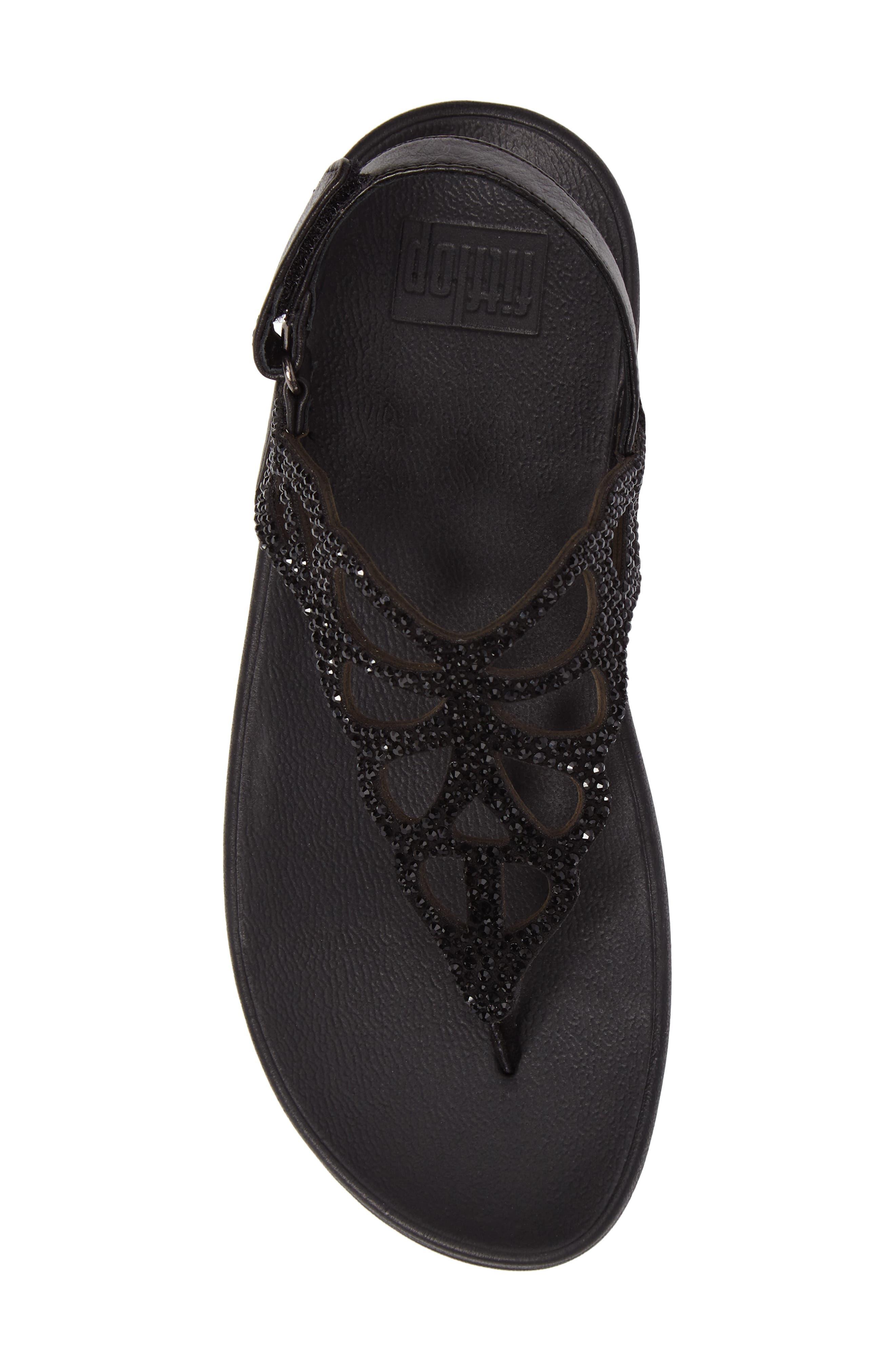 Bumble Crystal Embellished Sandal,                             Alternate thumbnail 5, color,                             Black Leather