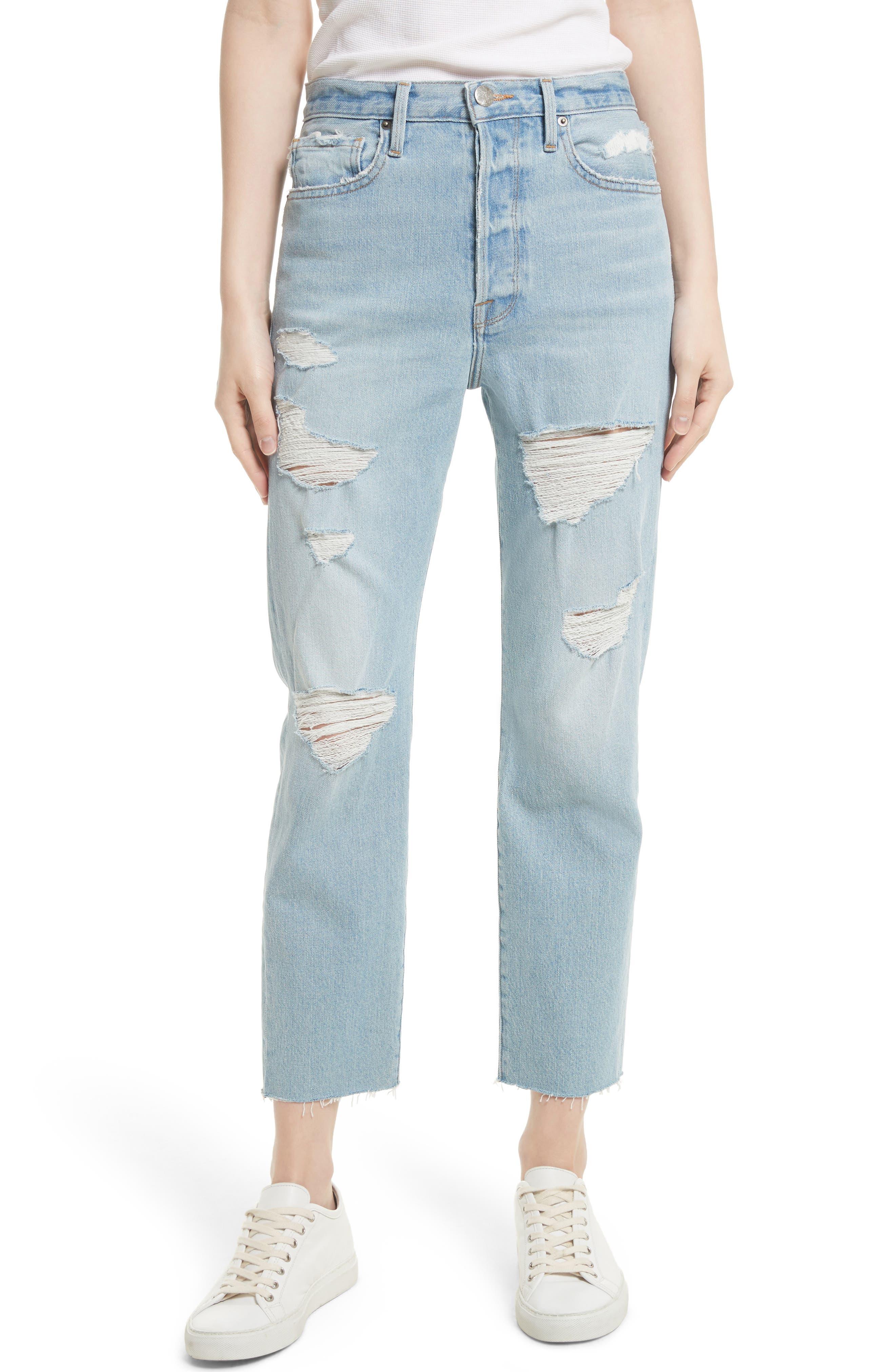Main Image - FRAME Le Original Raw Edge High Waist Jeans (Harrah)
