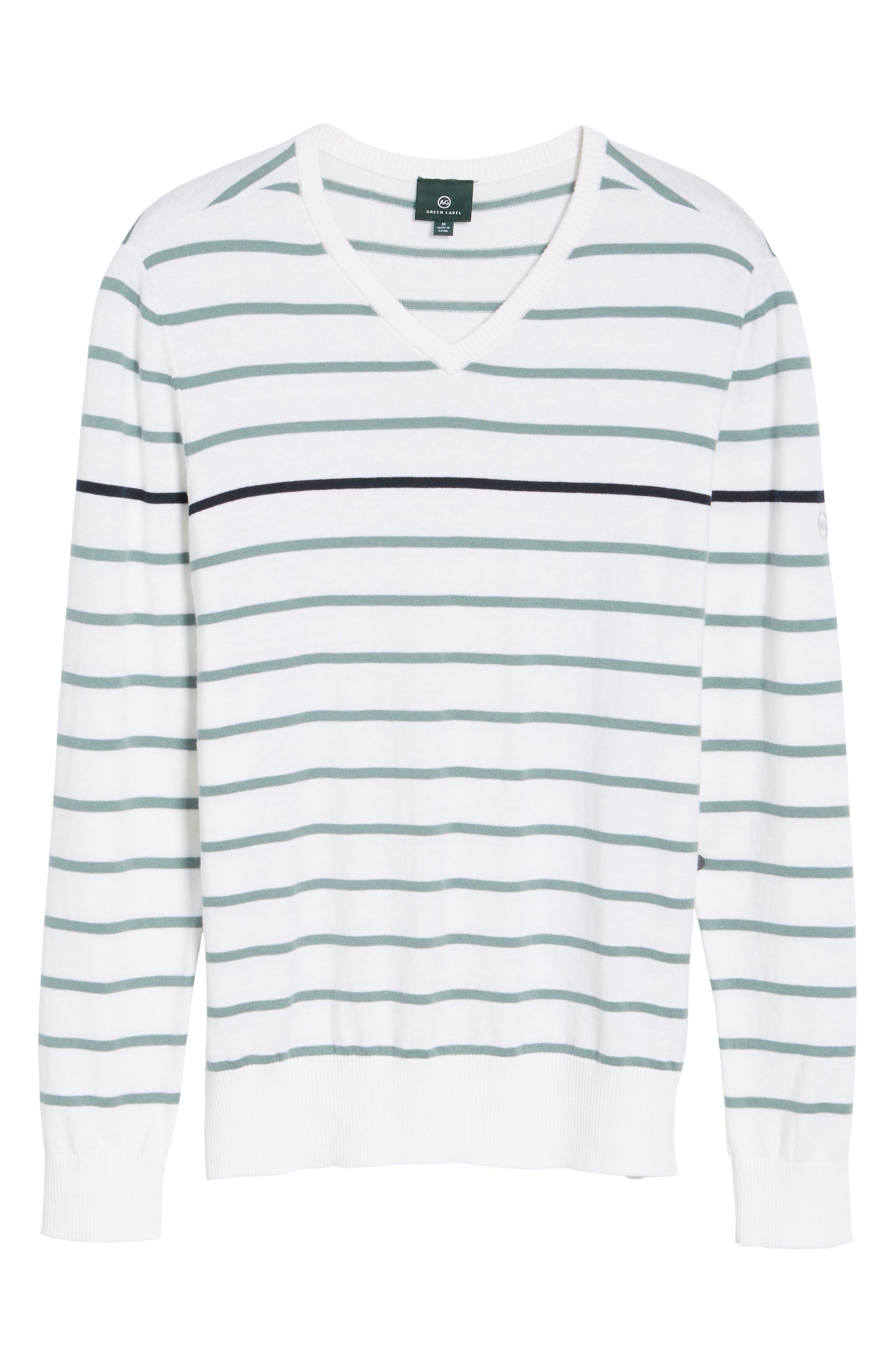Alternate Image 6  - AG The Farrell Stripe V-Neck Sweater