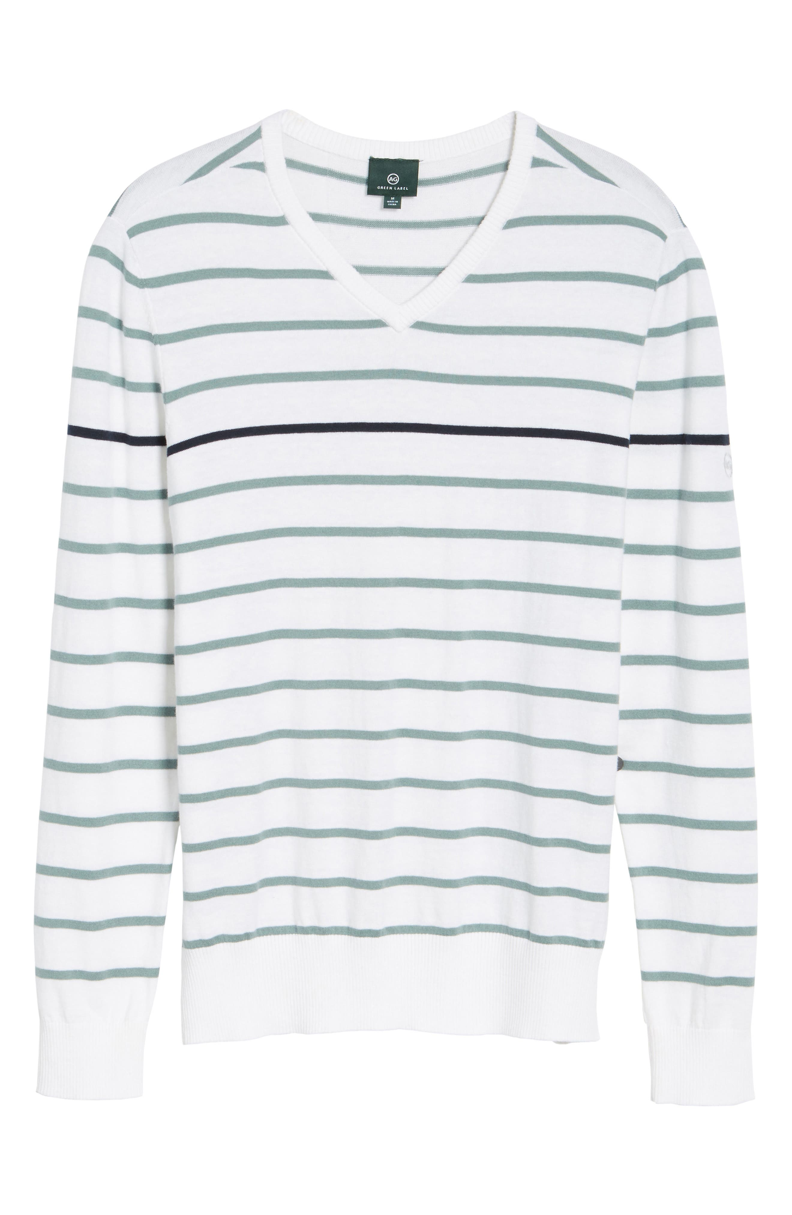 The Farrell Stripe V-Neck Sweater,                             Alternate thumbnail 6, color,                             White/ Agave Green/ Naval Blue
