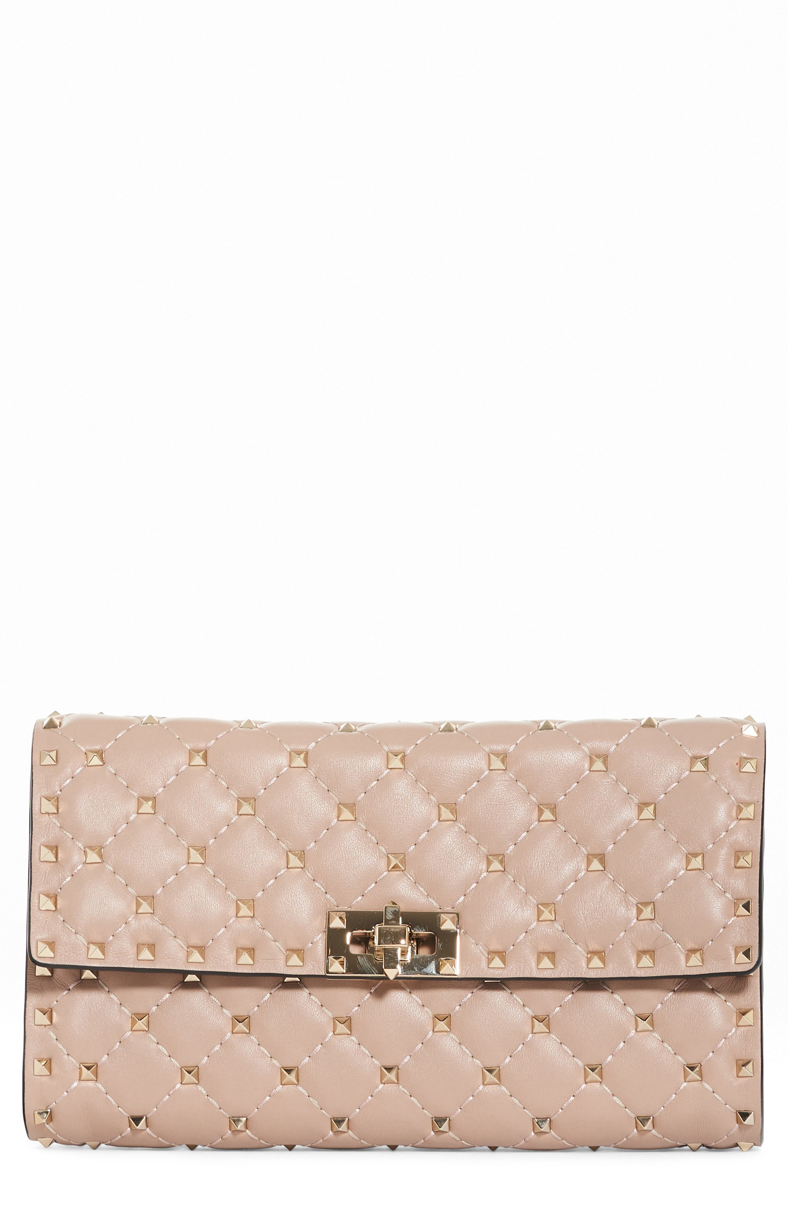 Rockstud Spike Wallet on a Chain,                         Main,                         color, Water Rose