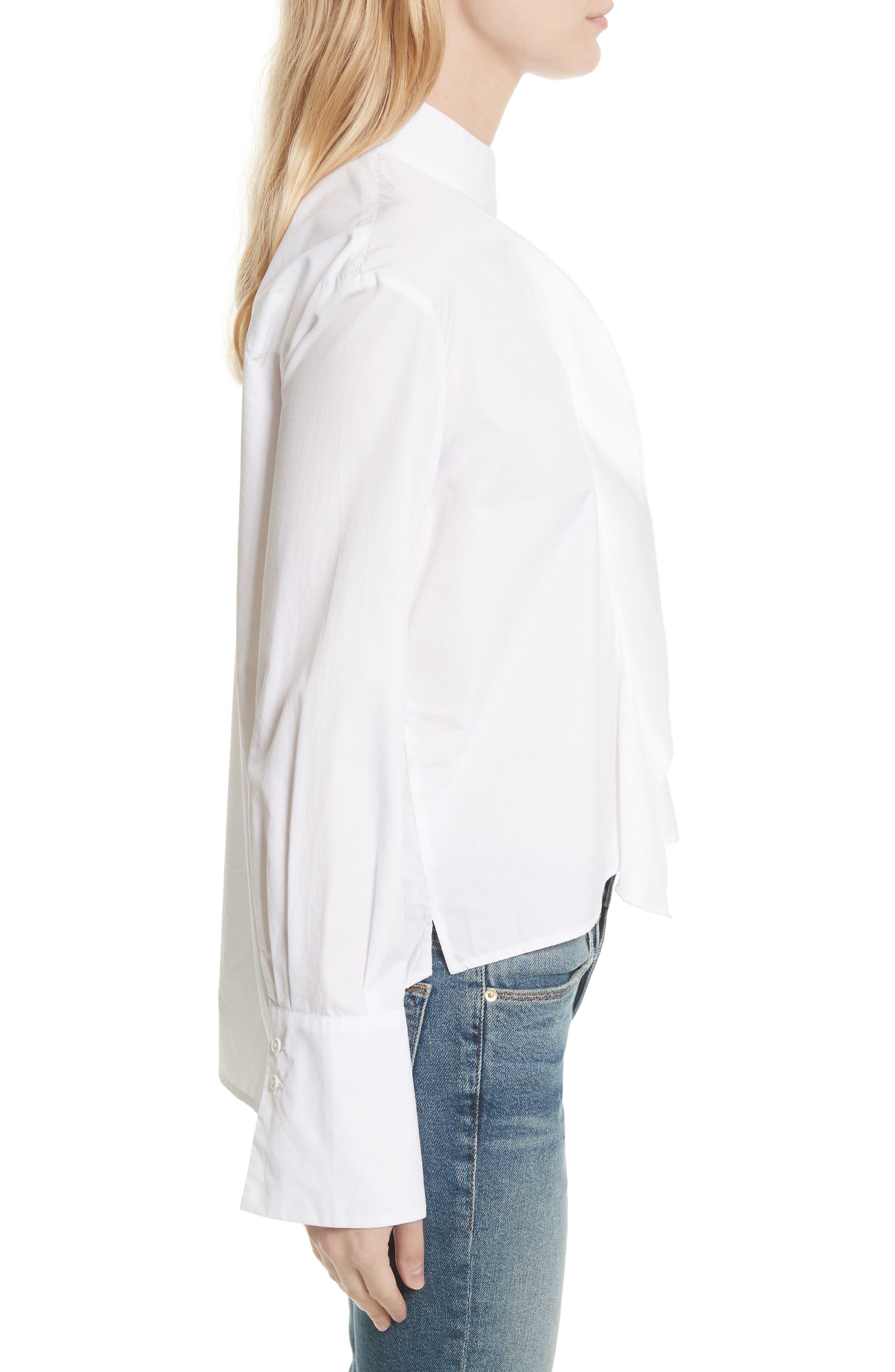 Cravat Poplin Blouse,                             Alternate thumbnail 4, color,                             Blanc