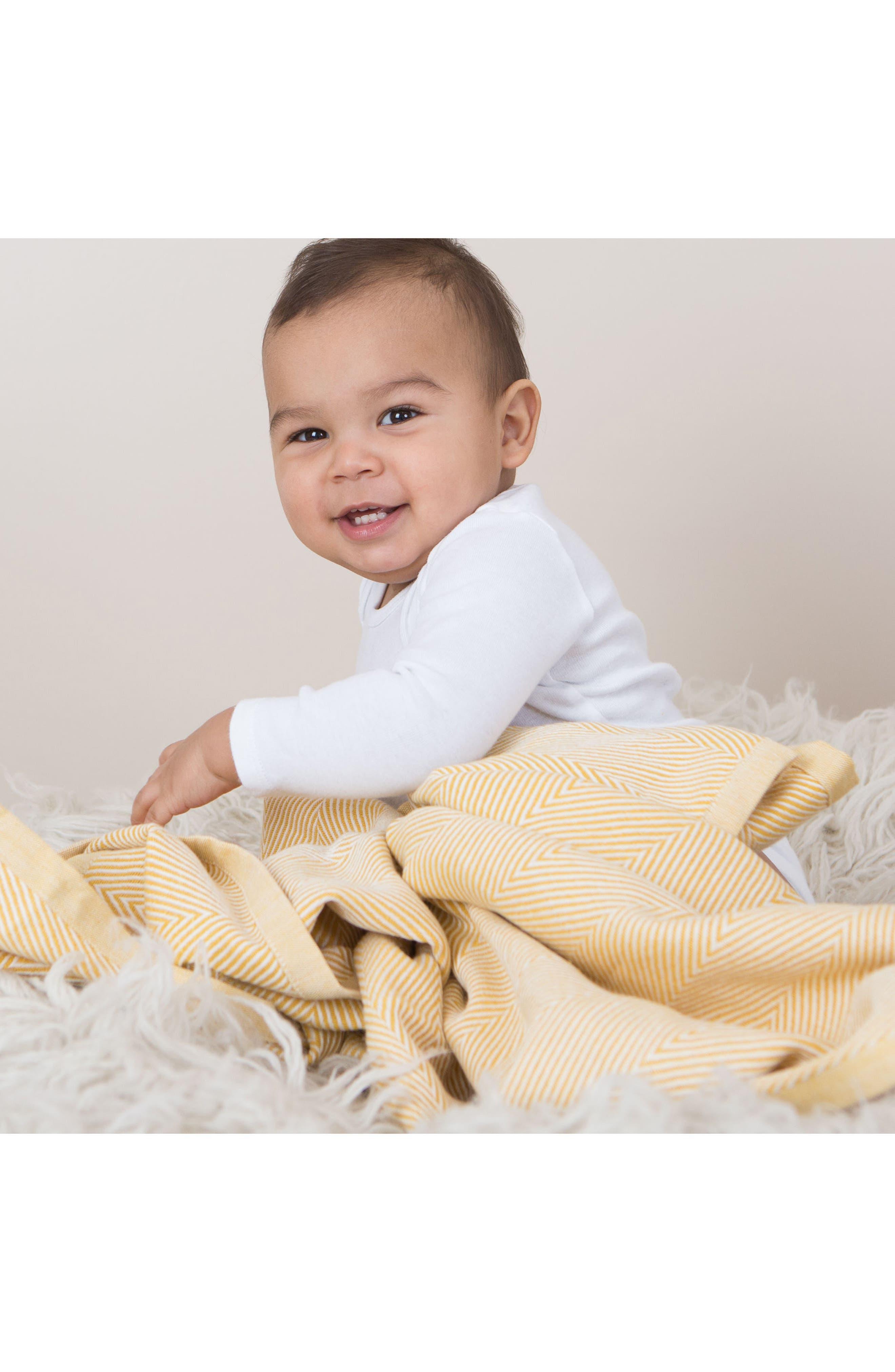 Herringbone Organic Cotton Blanket,                             Alternate thumbnail 2, color,                             Citron