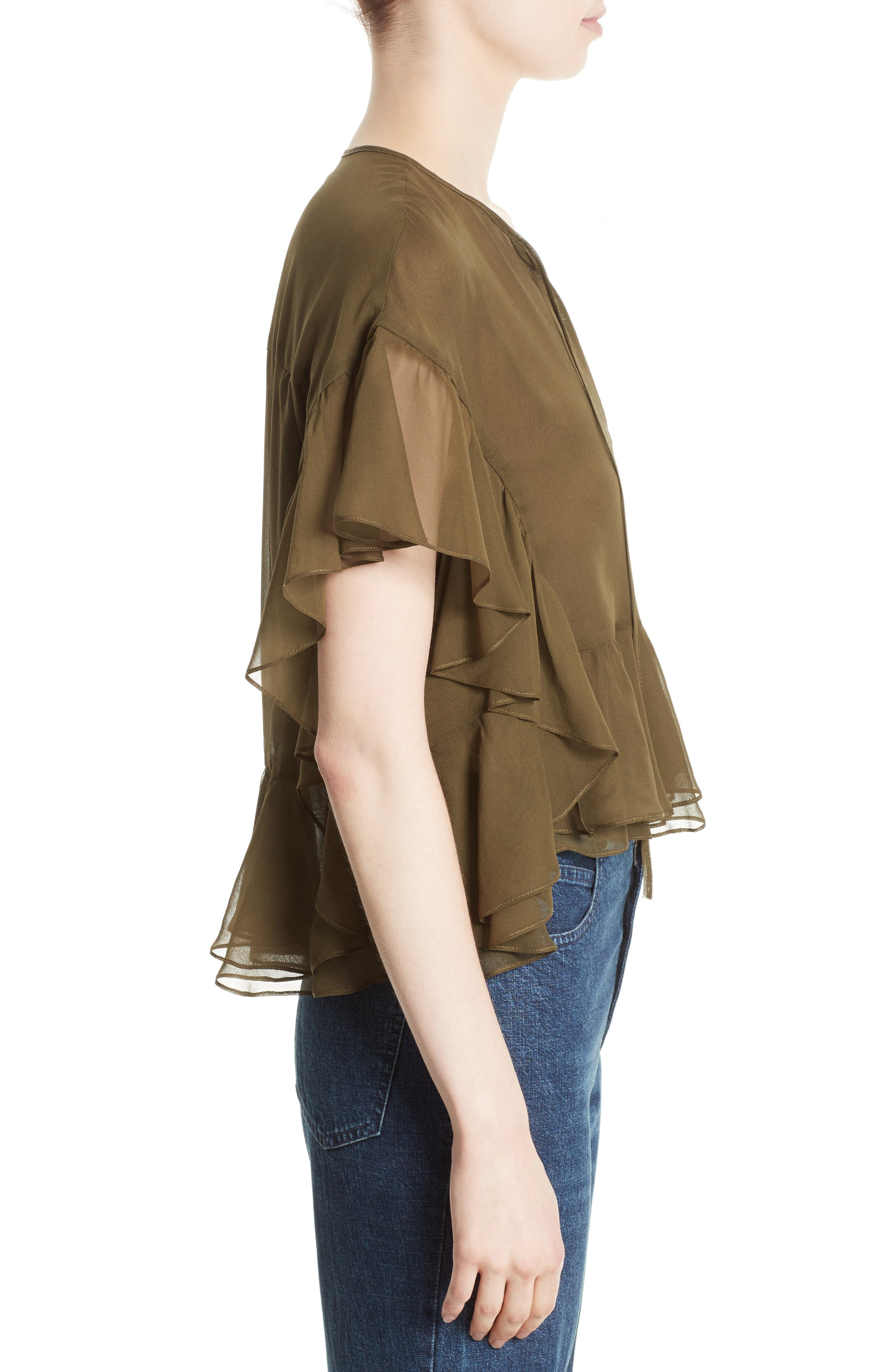 Floater Ruffle Silk Top,                             Alternate thumbnail 3, color,                             Olive