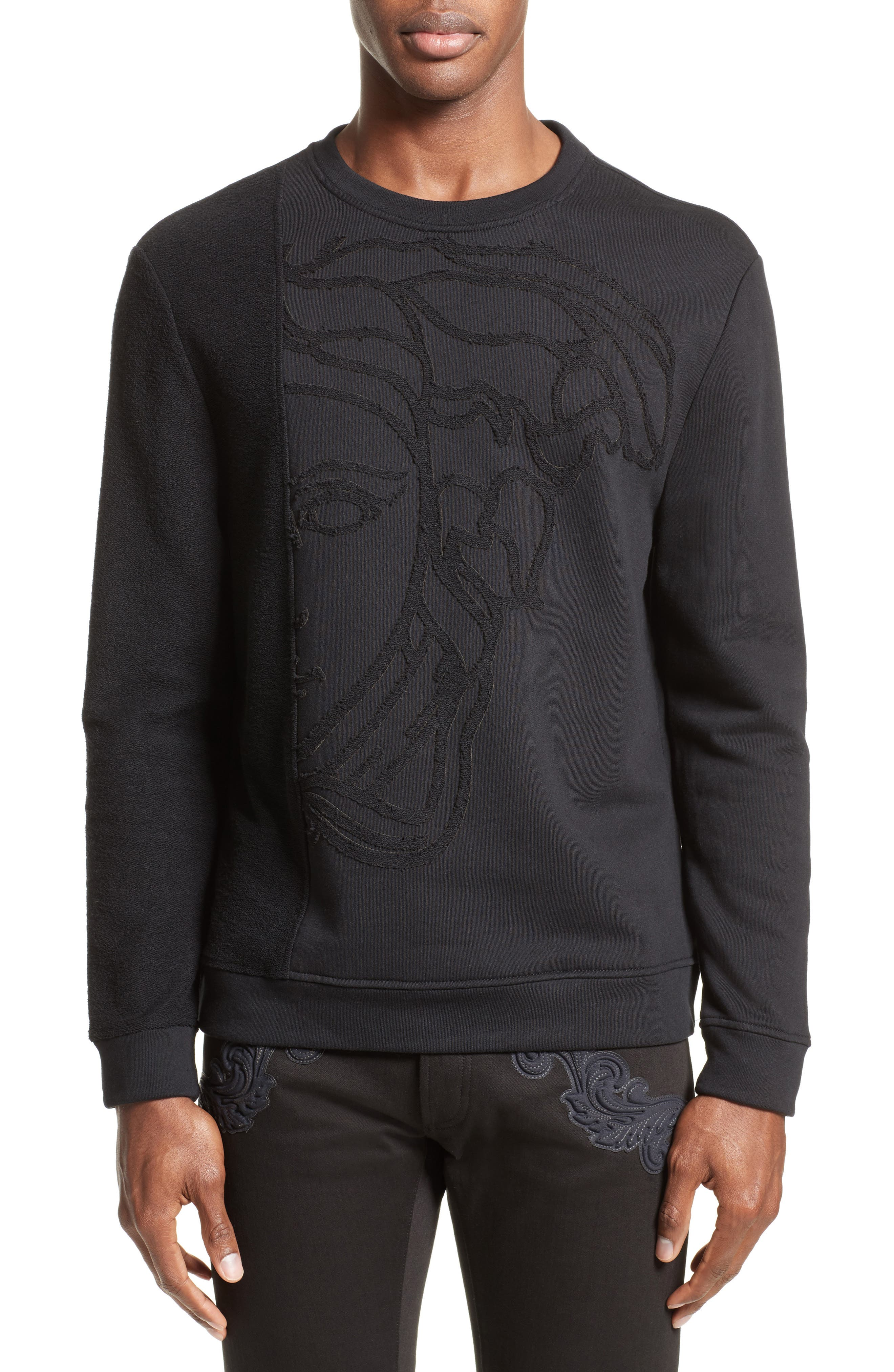 Reverse Terry Medusa Sweatshirt,                         Main,                         color, Black