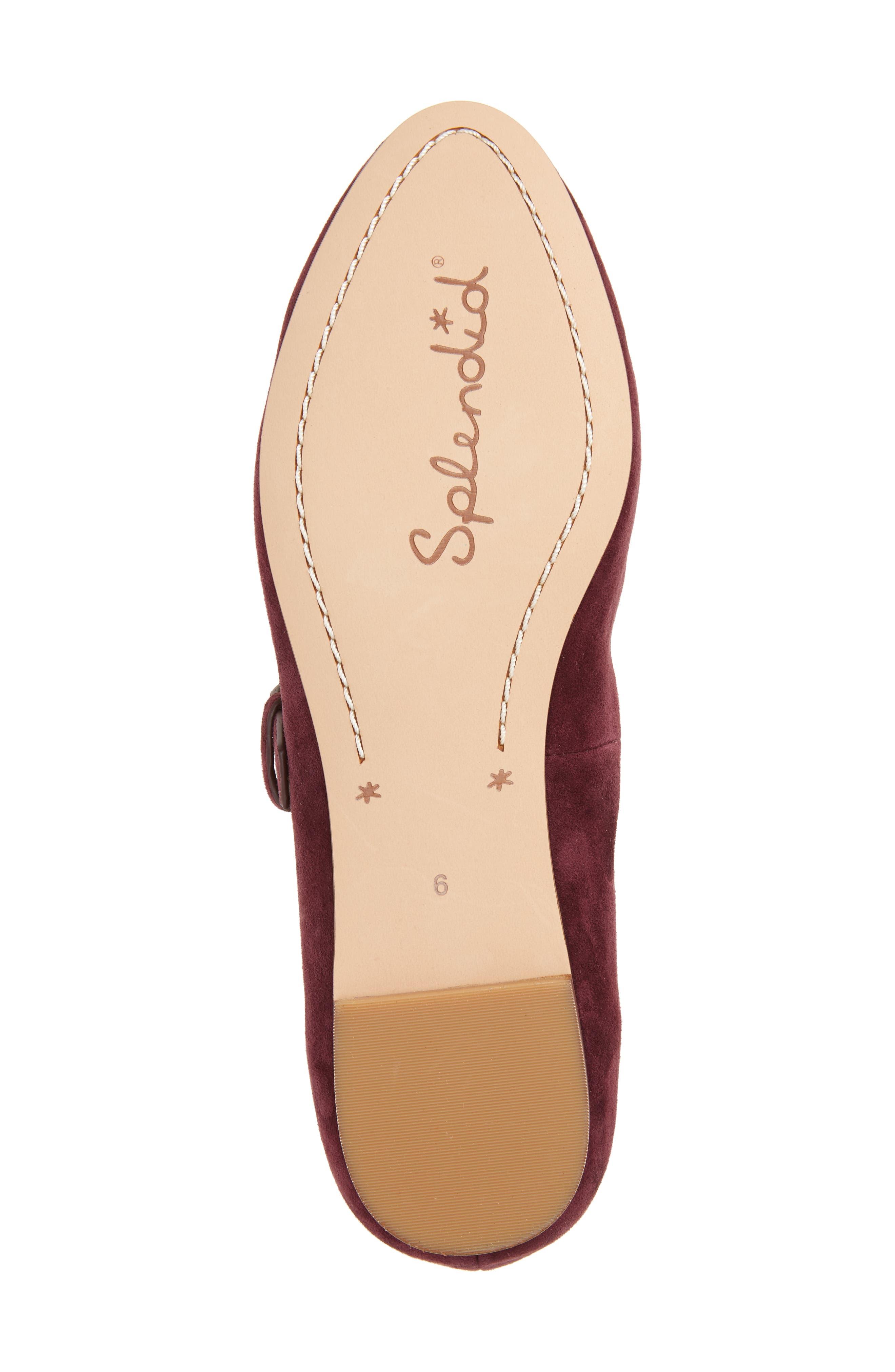 Dalenna Ankle Strap Ballet Flat,                             Alternate thumbnail 6, color,                             Wine Suede
