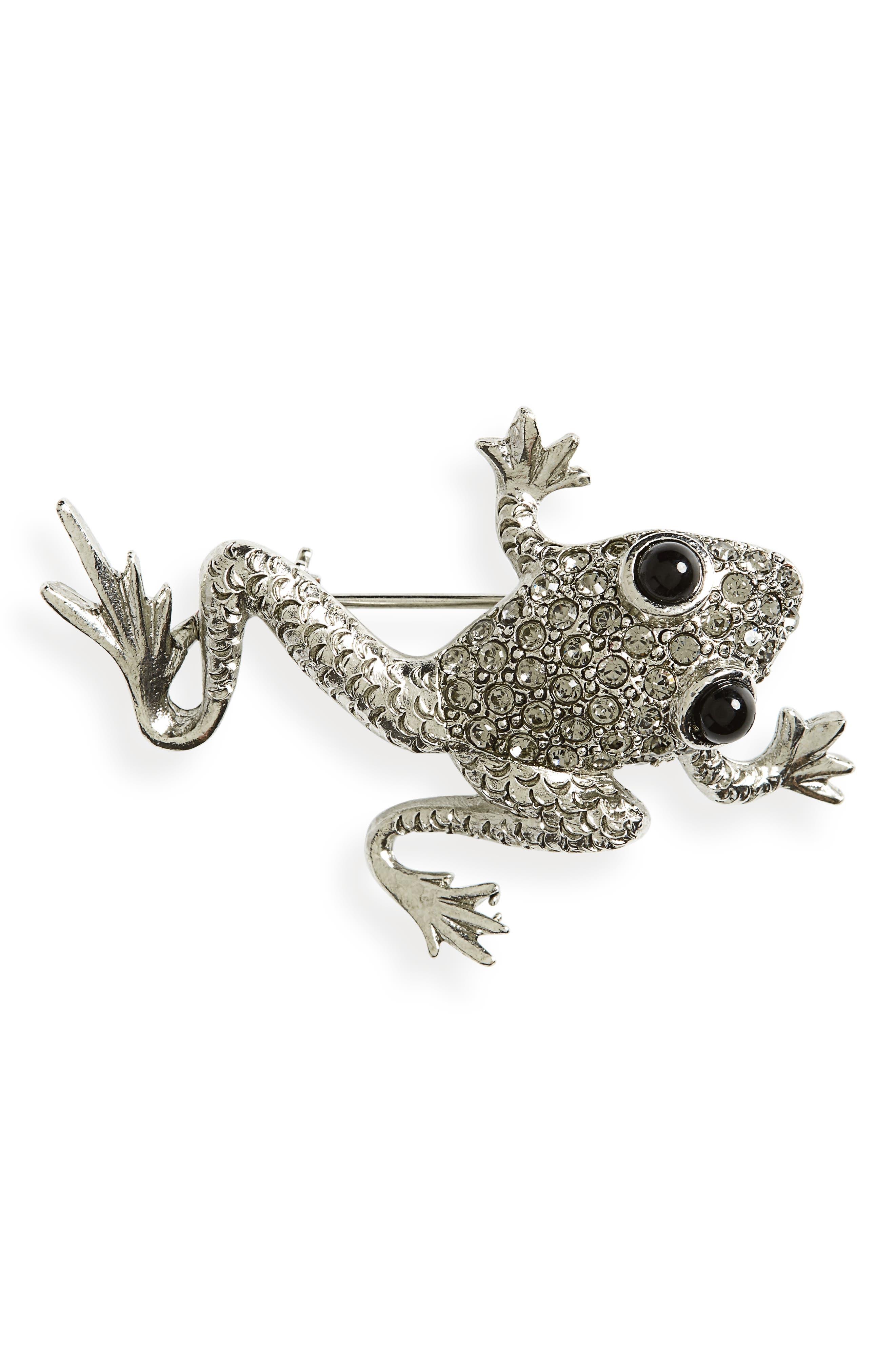 OSCAR DE LA RENTA Crystal Pavé Frog Brooch