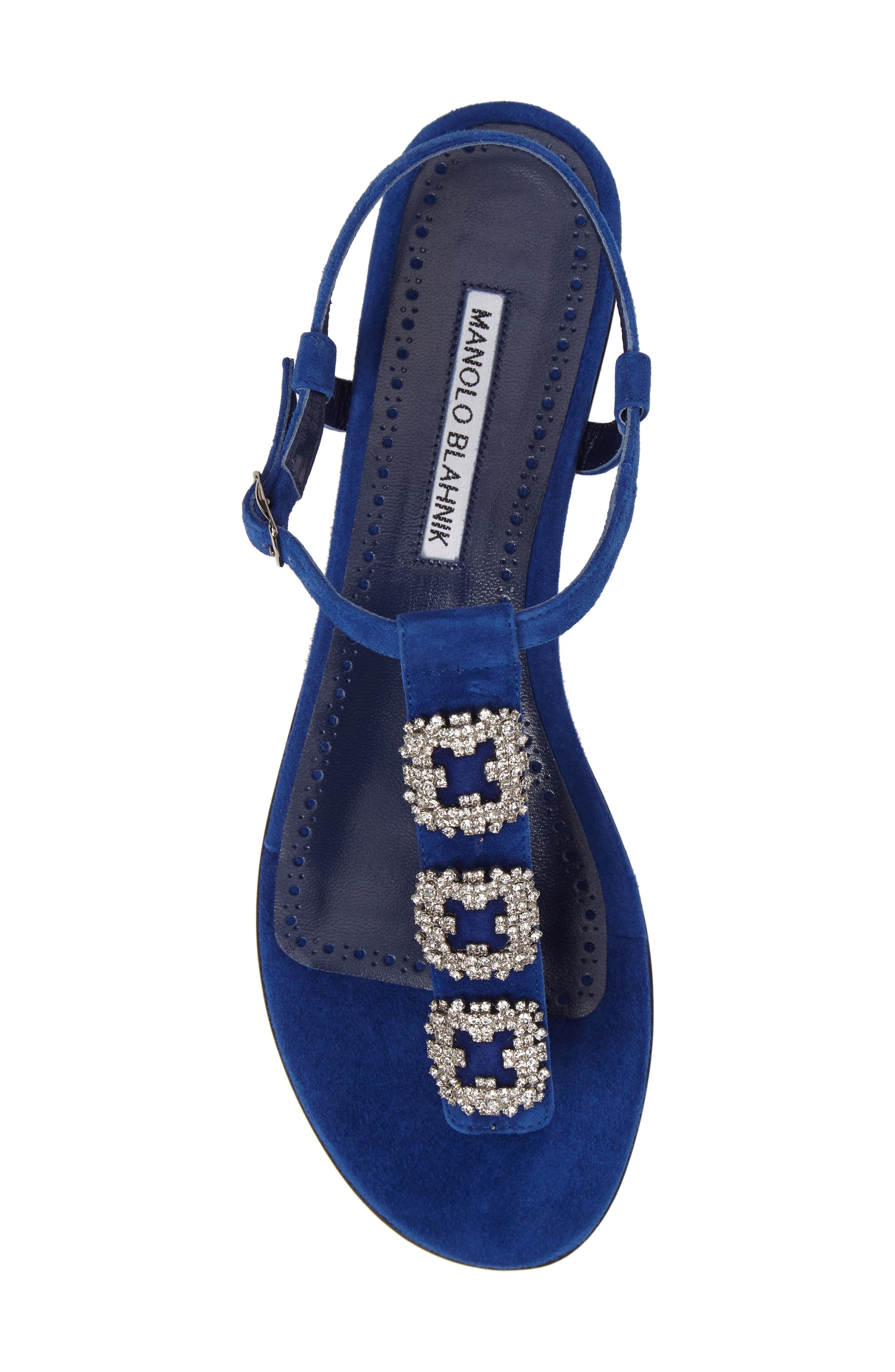 Ottolina T-Strap Sandal,                             Alternate thumbnail 5, color,                             Blue Suede