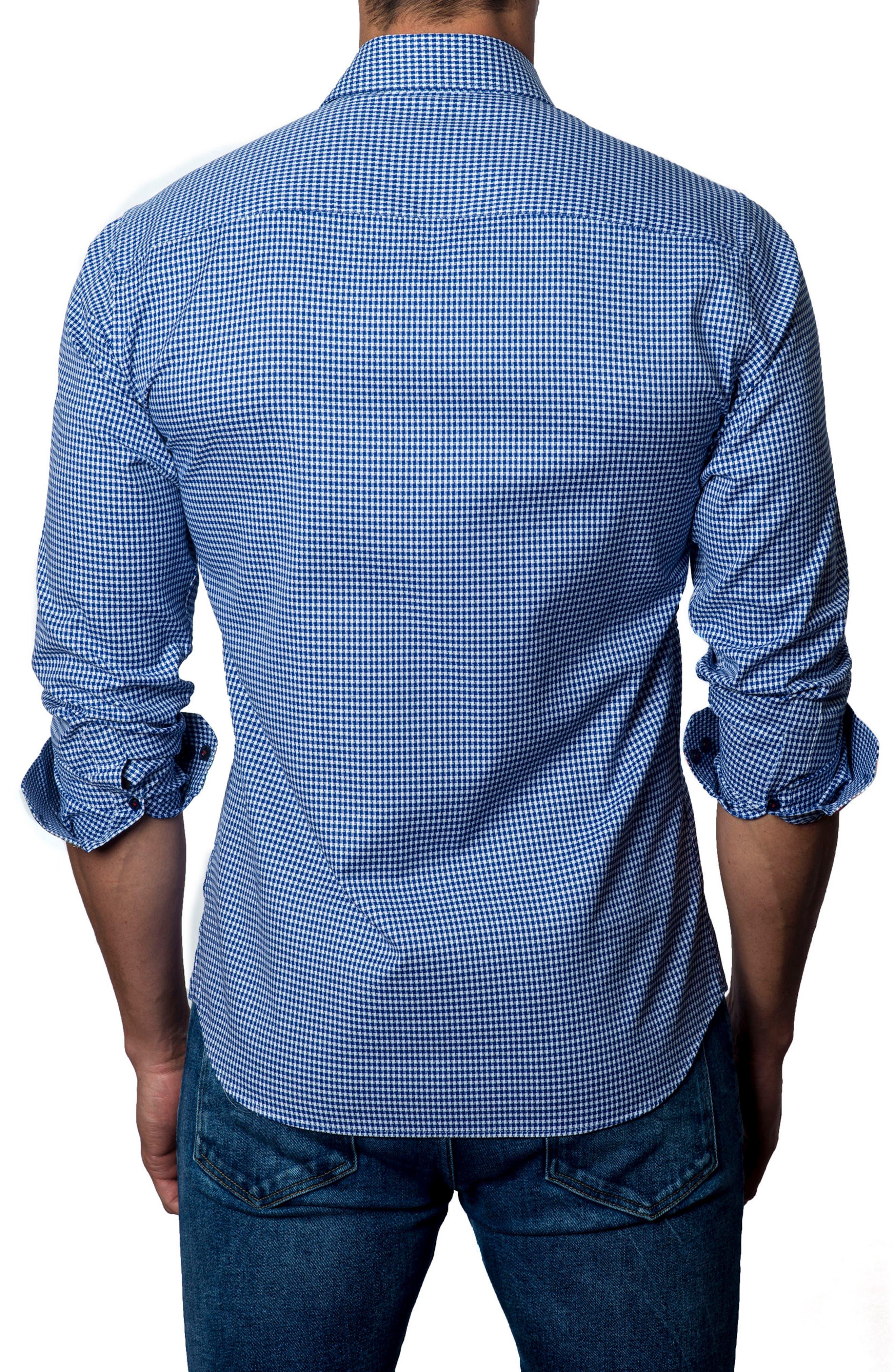 Houndstooth Sport Shirt,                             Alternate thumbnail 2, color,                             Dark Blue Plaid