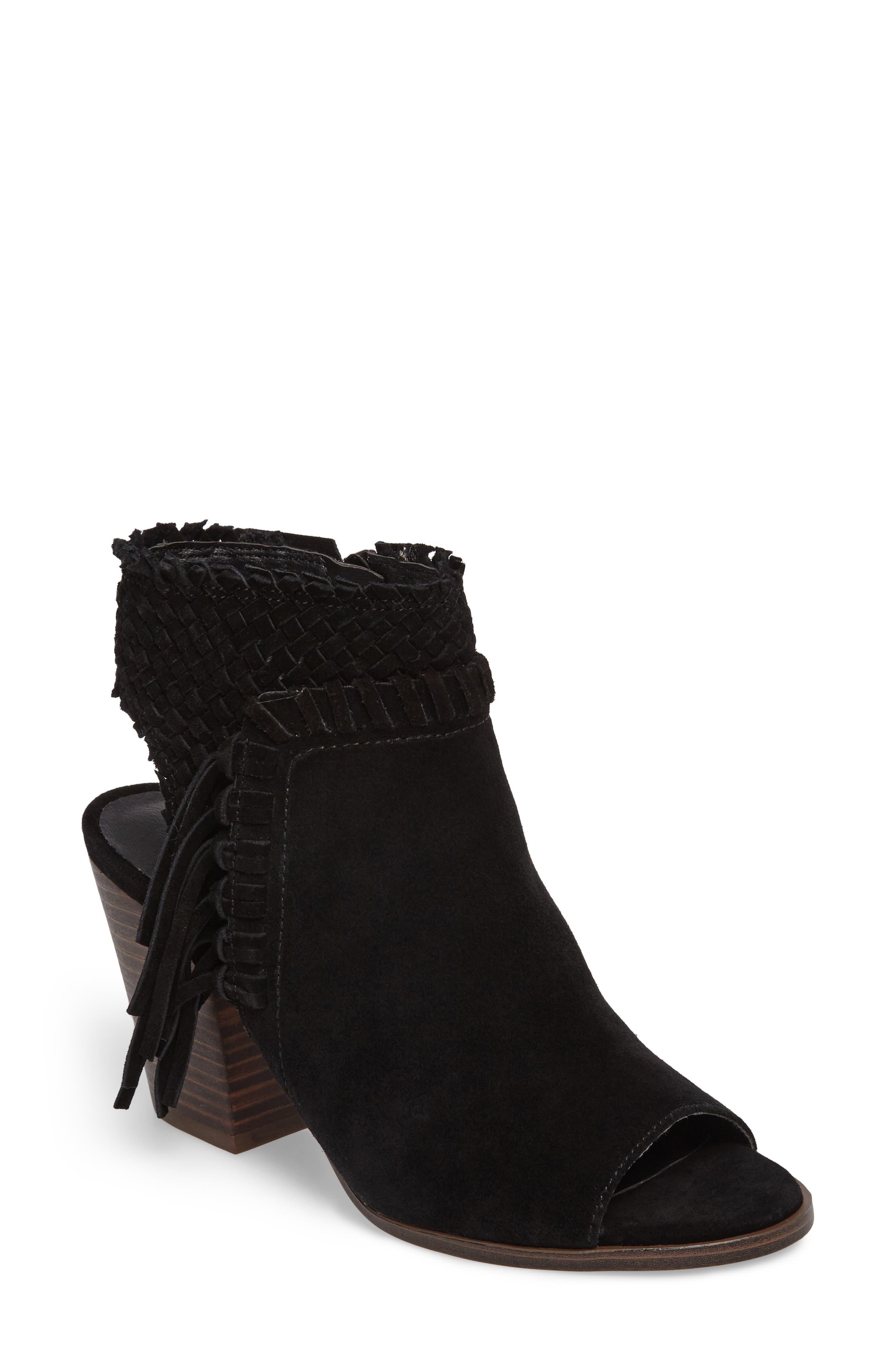 Ointlee Fringe Bootie Sandal,                         Main,                         color, Black Suede