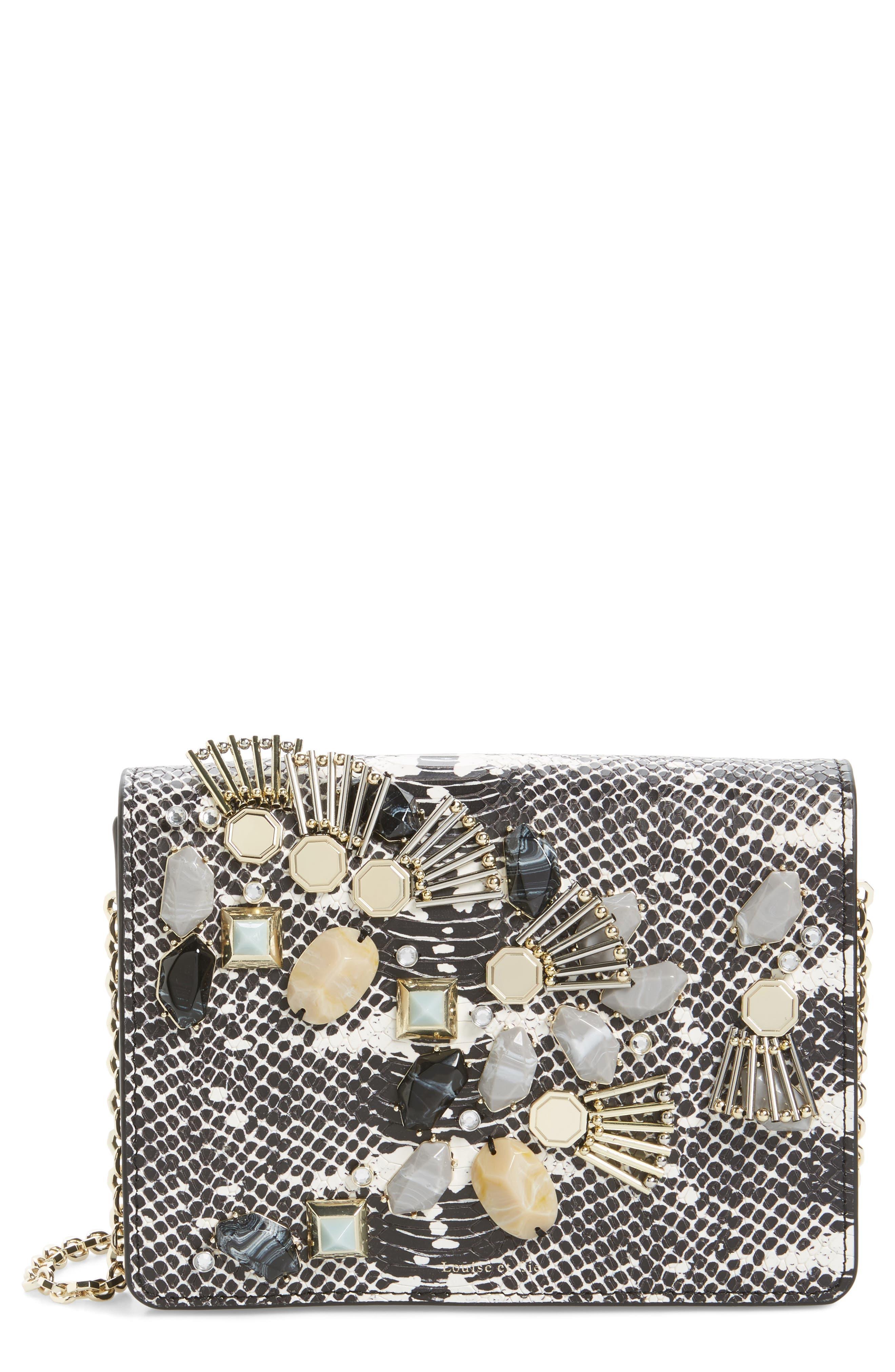 LOUISE ET CIE Sonye Embellished Leather Shoulder Bag