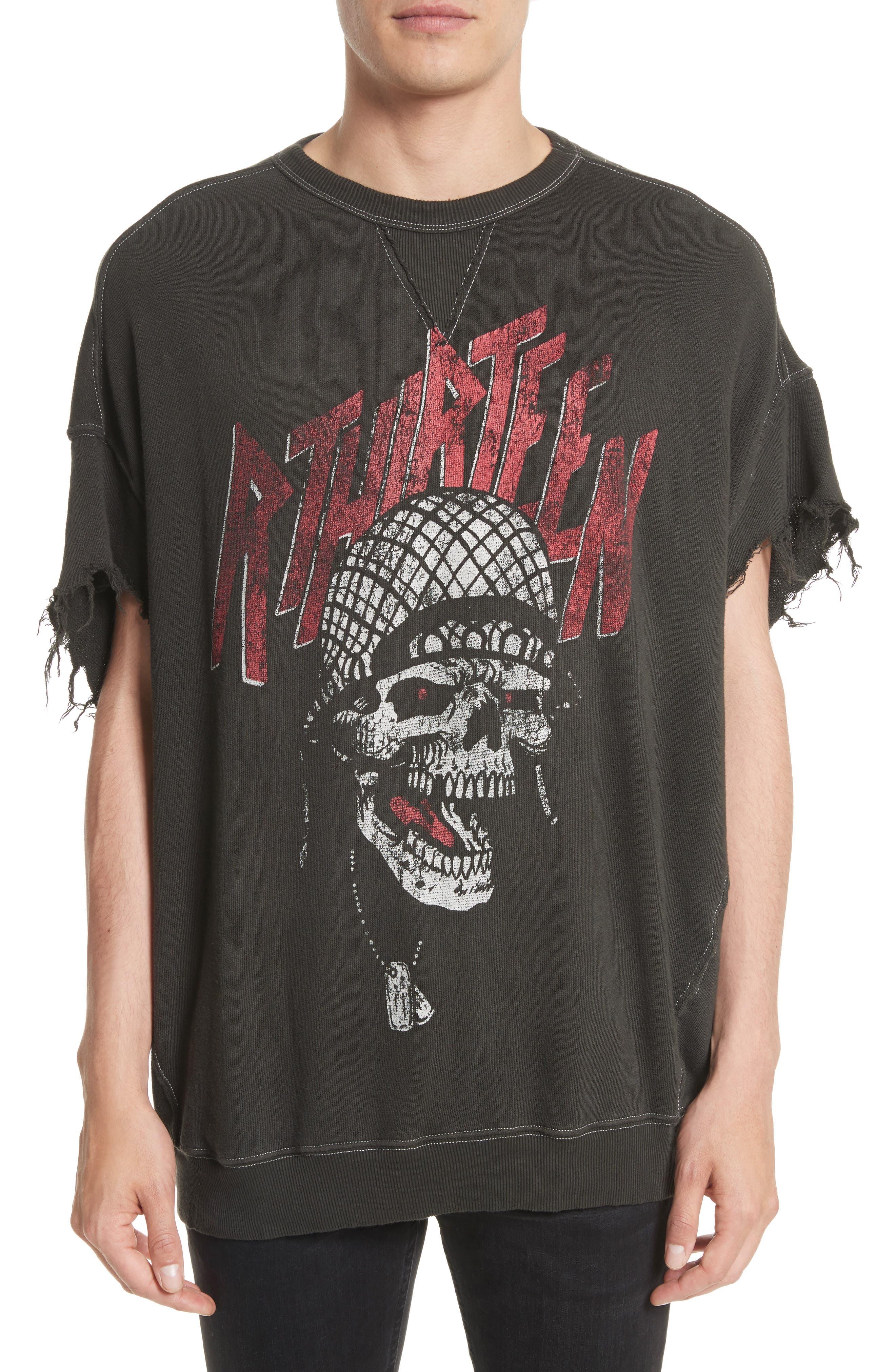 Print Cutoff Sweatshirt,                         Main,                         color, Black