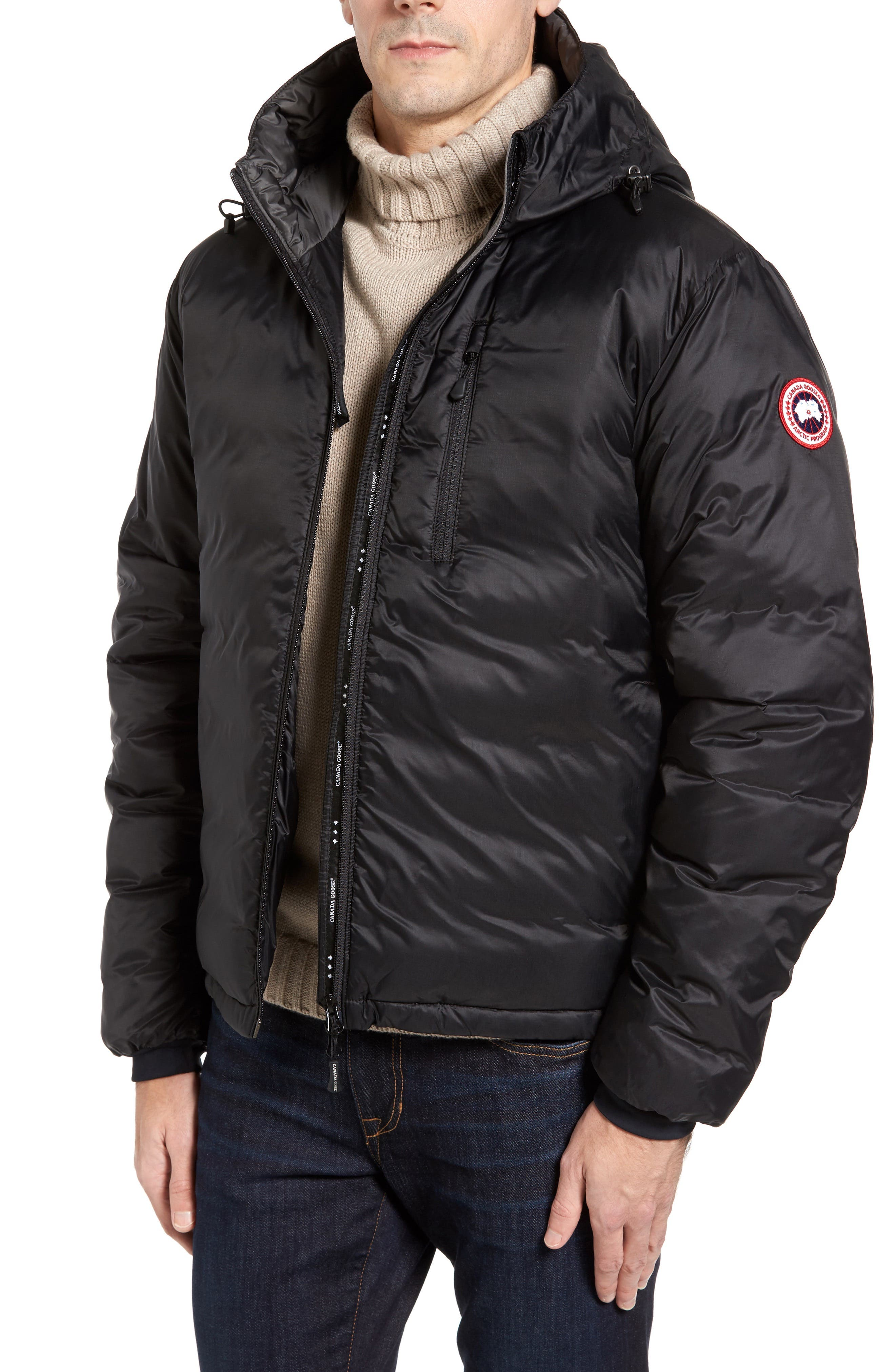 Lodge Packable Down Jacket,                             Main thumbnail 1, color,                             Black/ Black