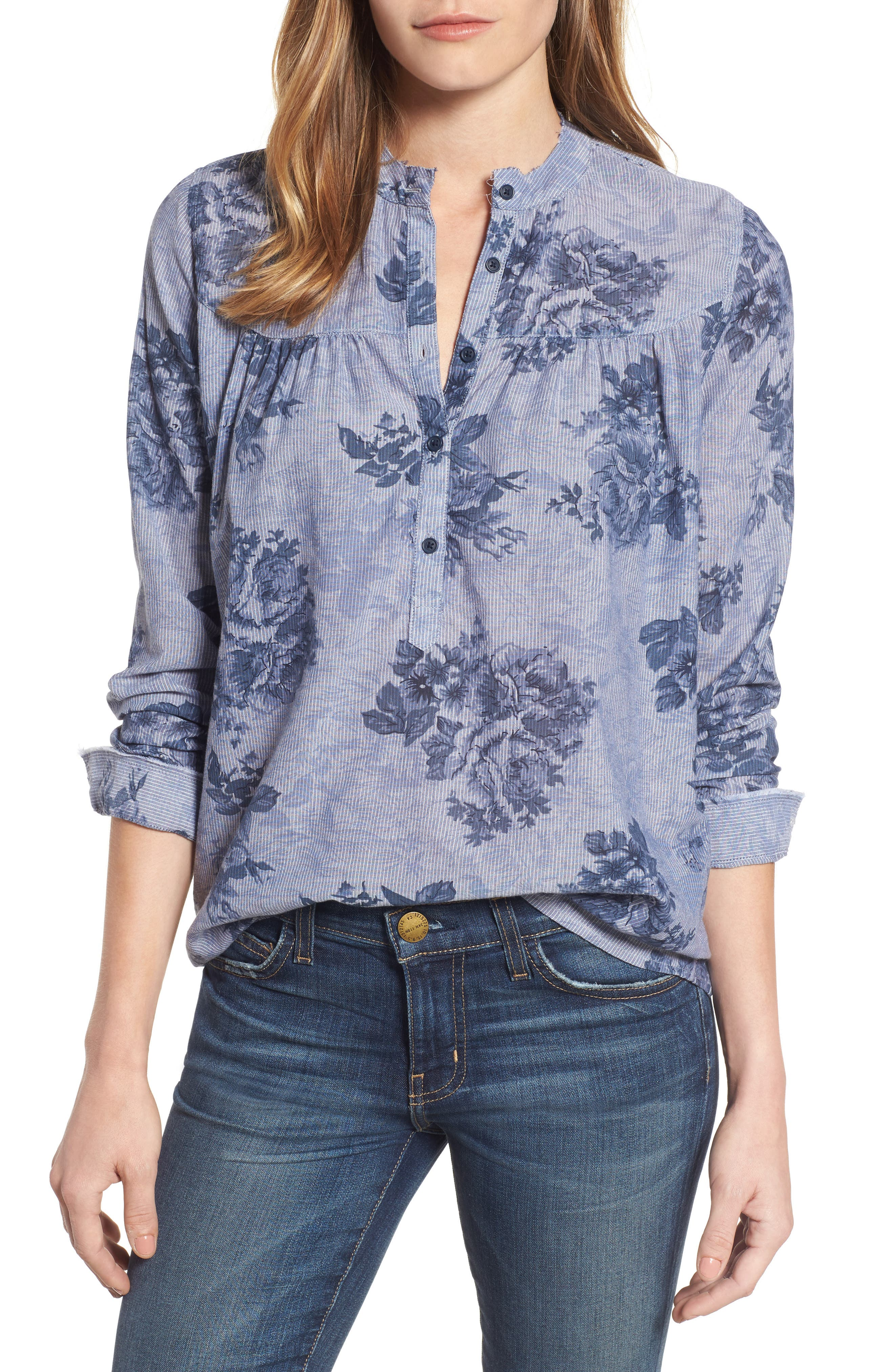 Lucky Brand Floral Chambray Shirt