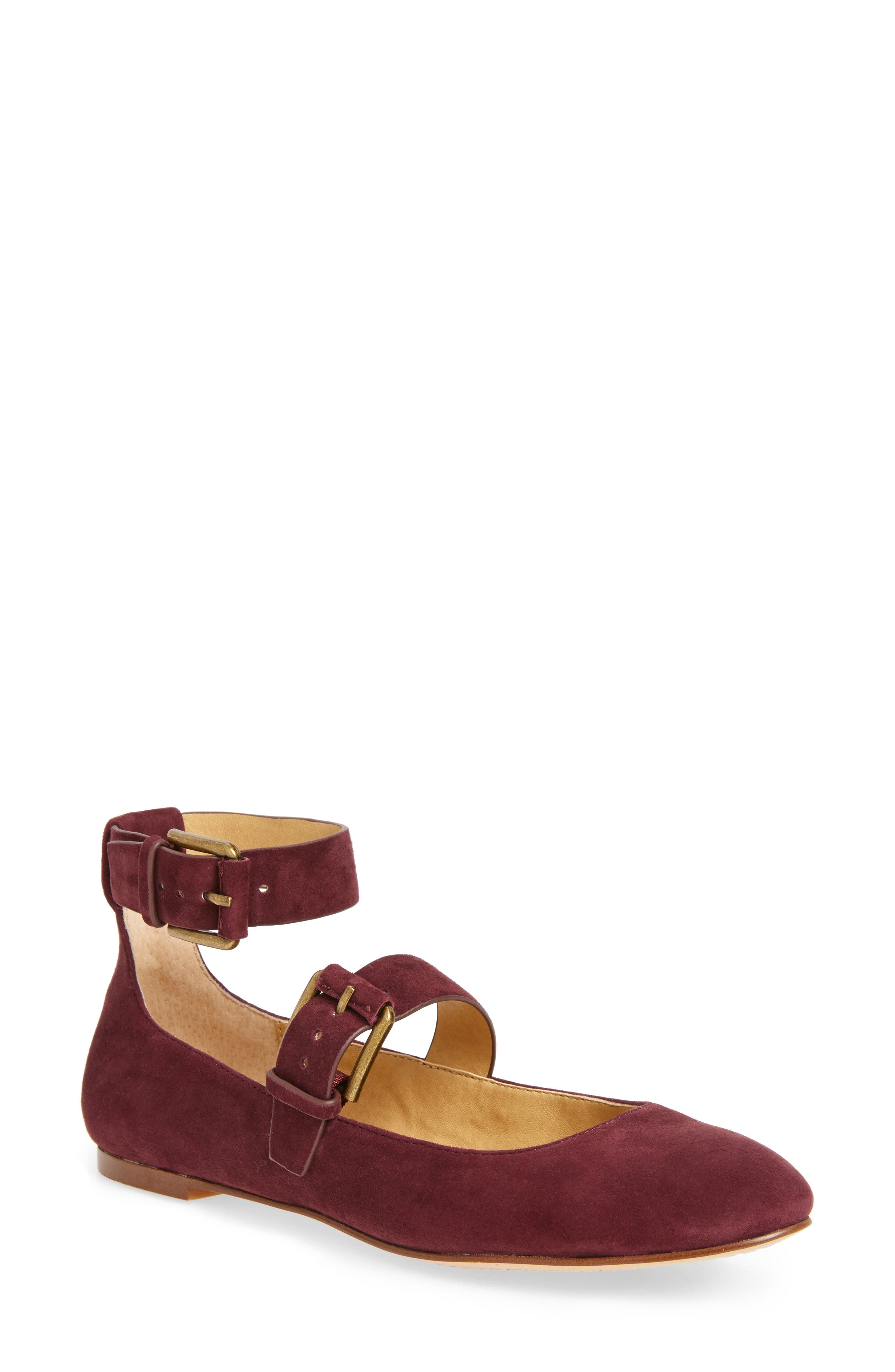Dalenna Ankle Strap Ballet Flat,                             Main thumbnail 1, color,                             Wine Suede