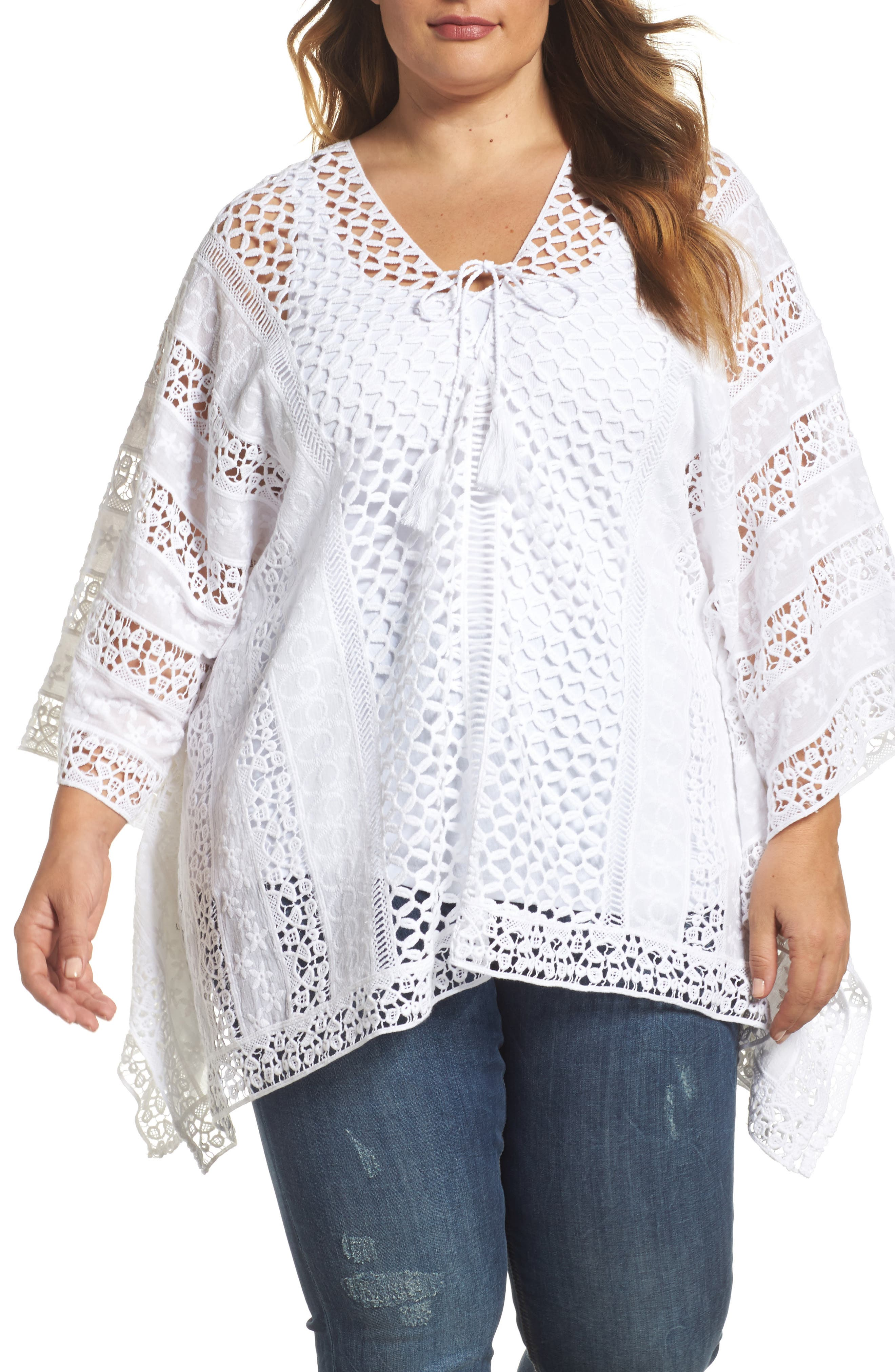 Jace Embroidered Cotton Poncho,                         Main,                         color, White
