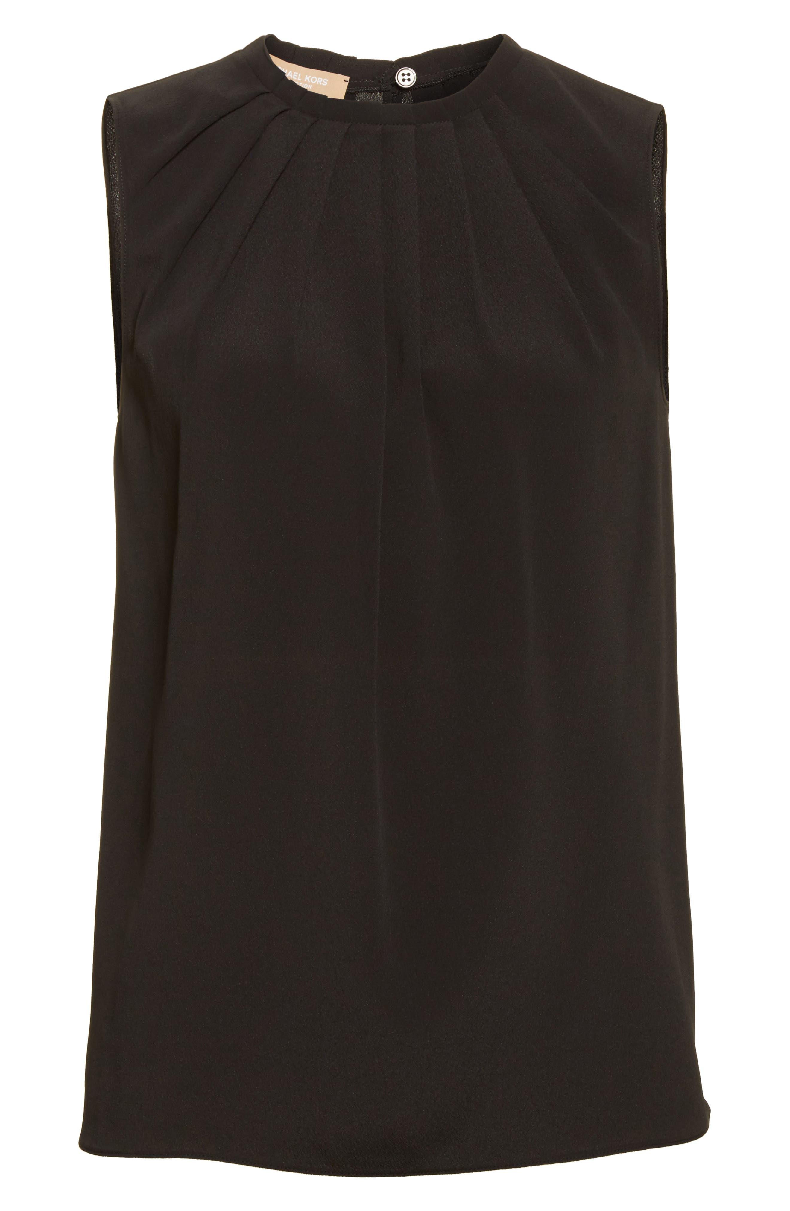 Tucked Neck Silk Blend Blouse,                             Alternate thumbnail 4, color,                             Black