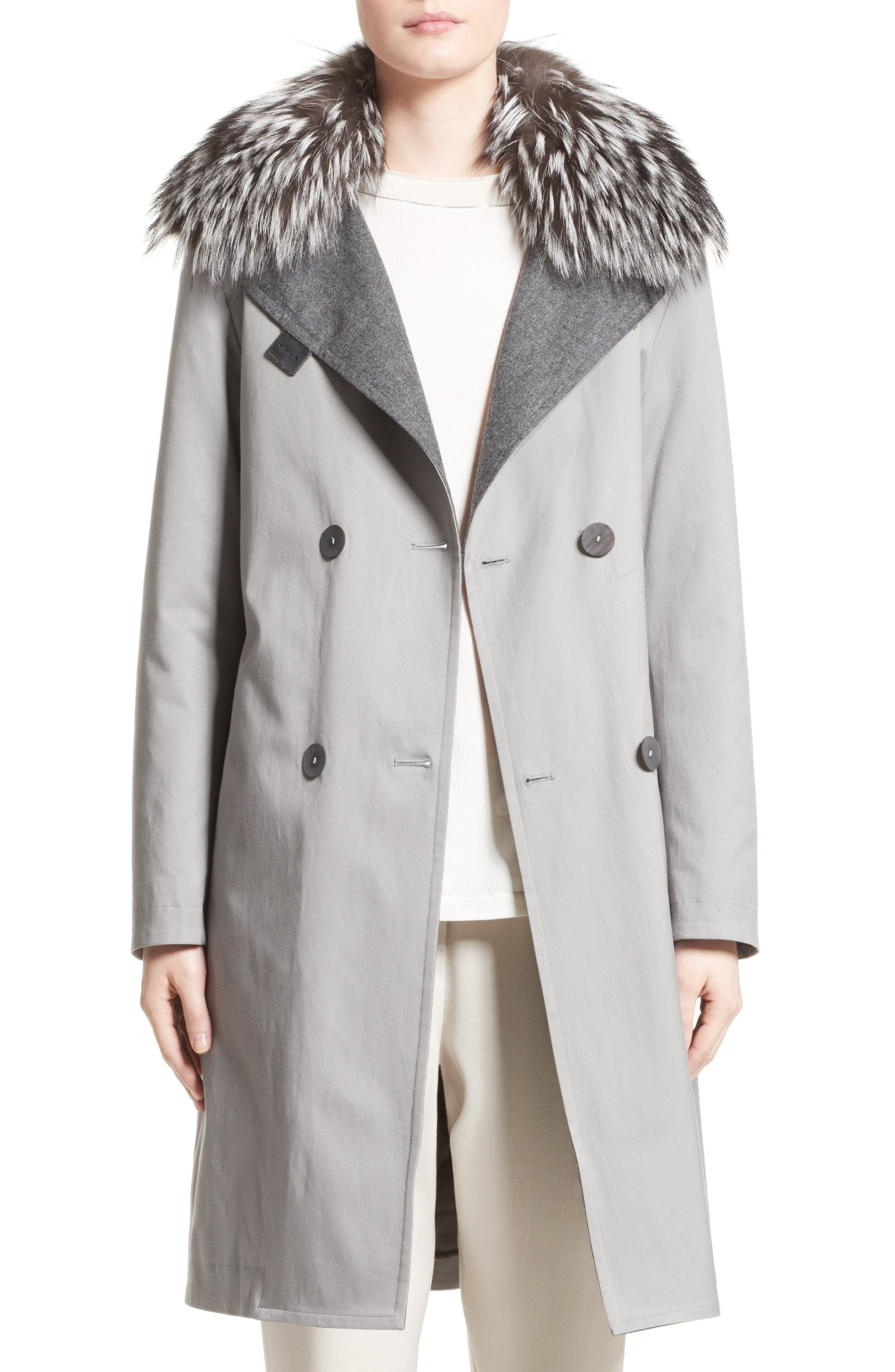 Fabiana Filippi Water Repellent Gabardine Trench Coat with Genuine Fox Fur Collar