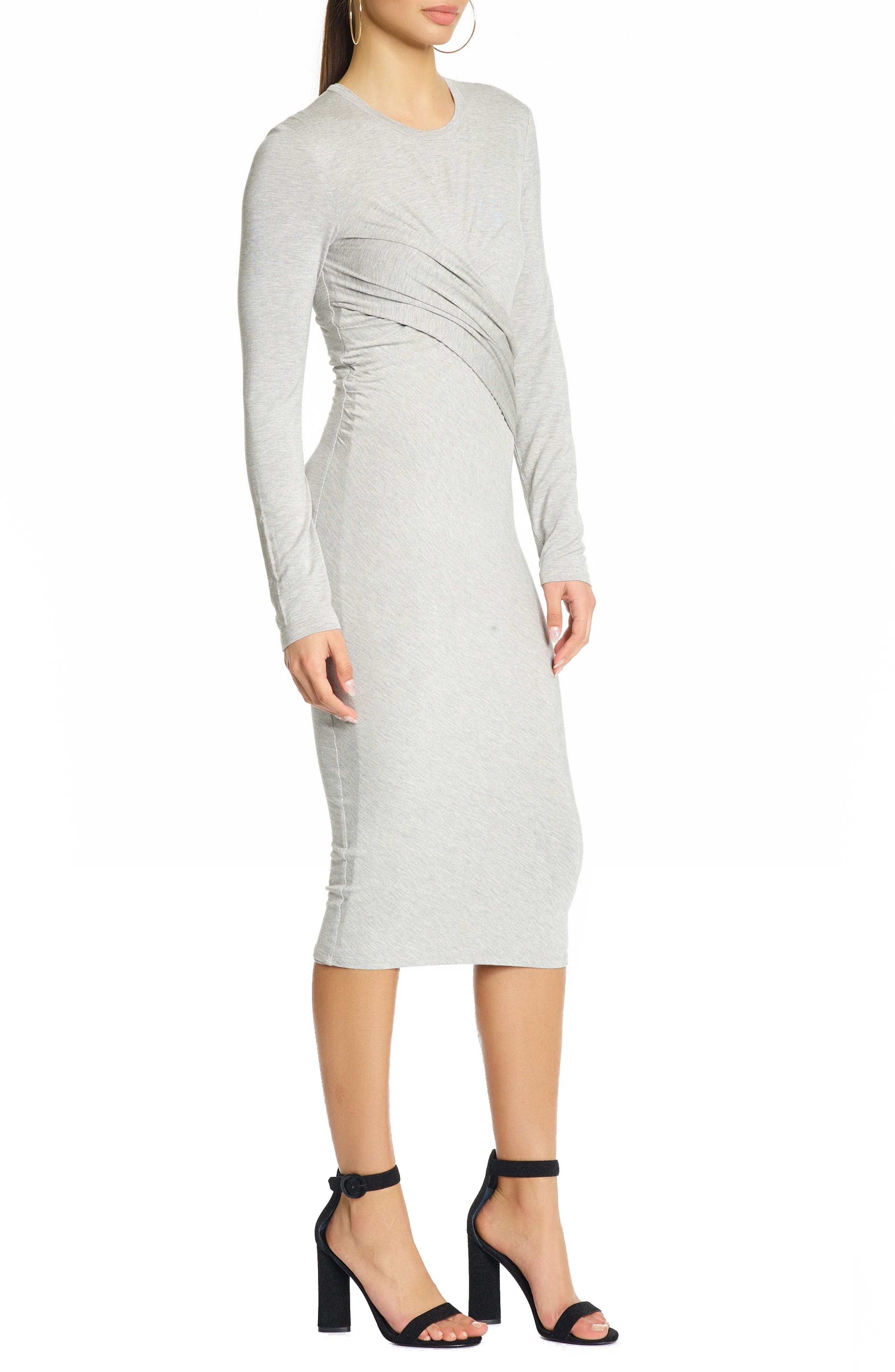 Long Sleeve Twist Dress,                             Alternate thumbnail 3, color,                             Medium Heather Grey