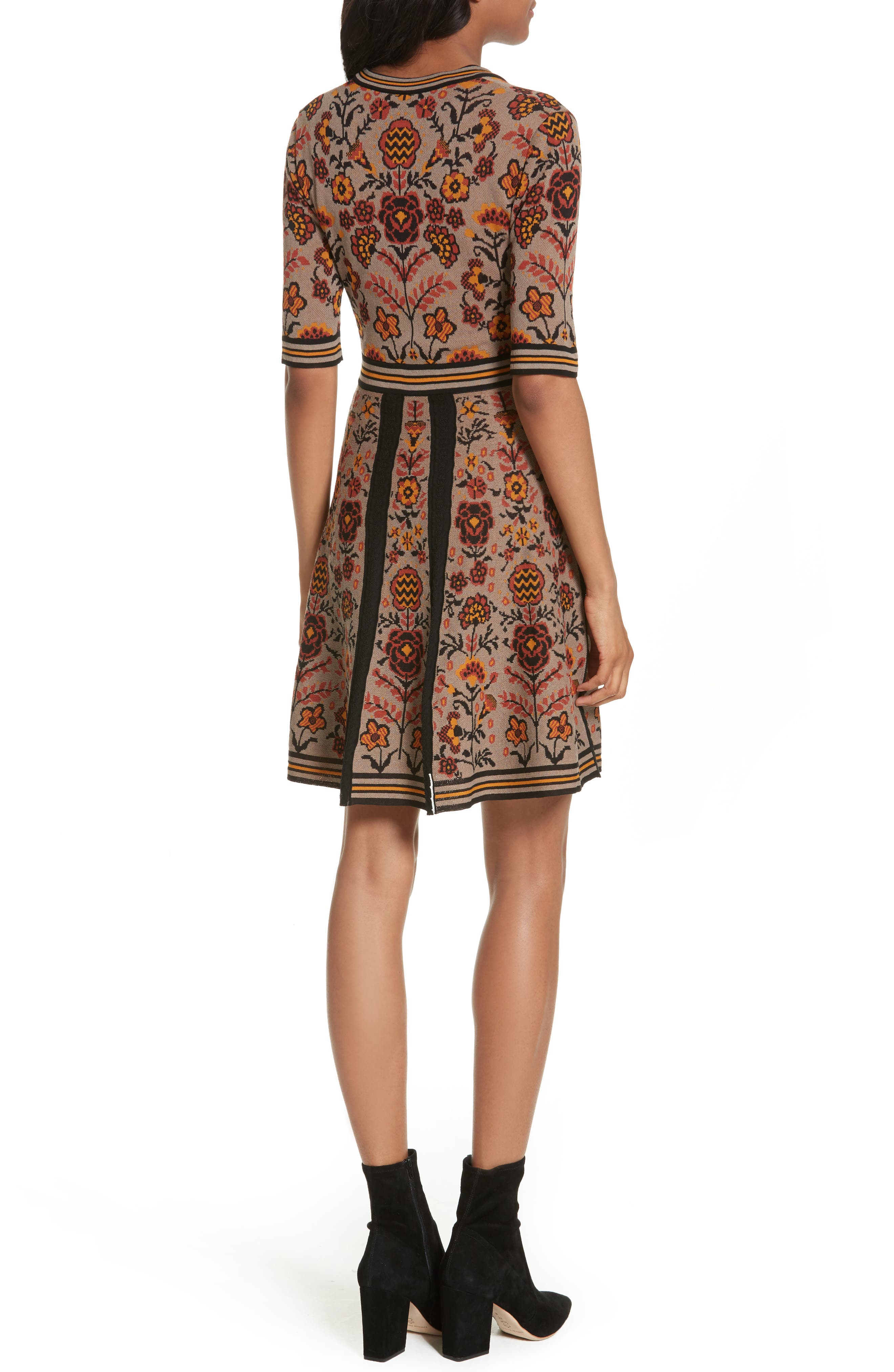 Floral Jacquard Knit Dress,                             Alternate thumbnail 2, color,                             Taupe
