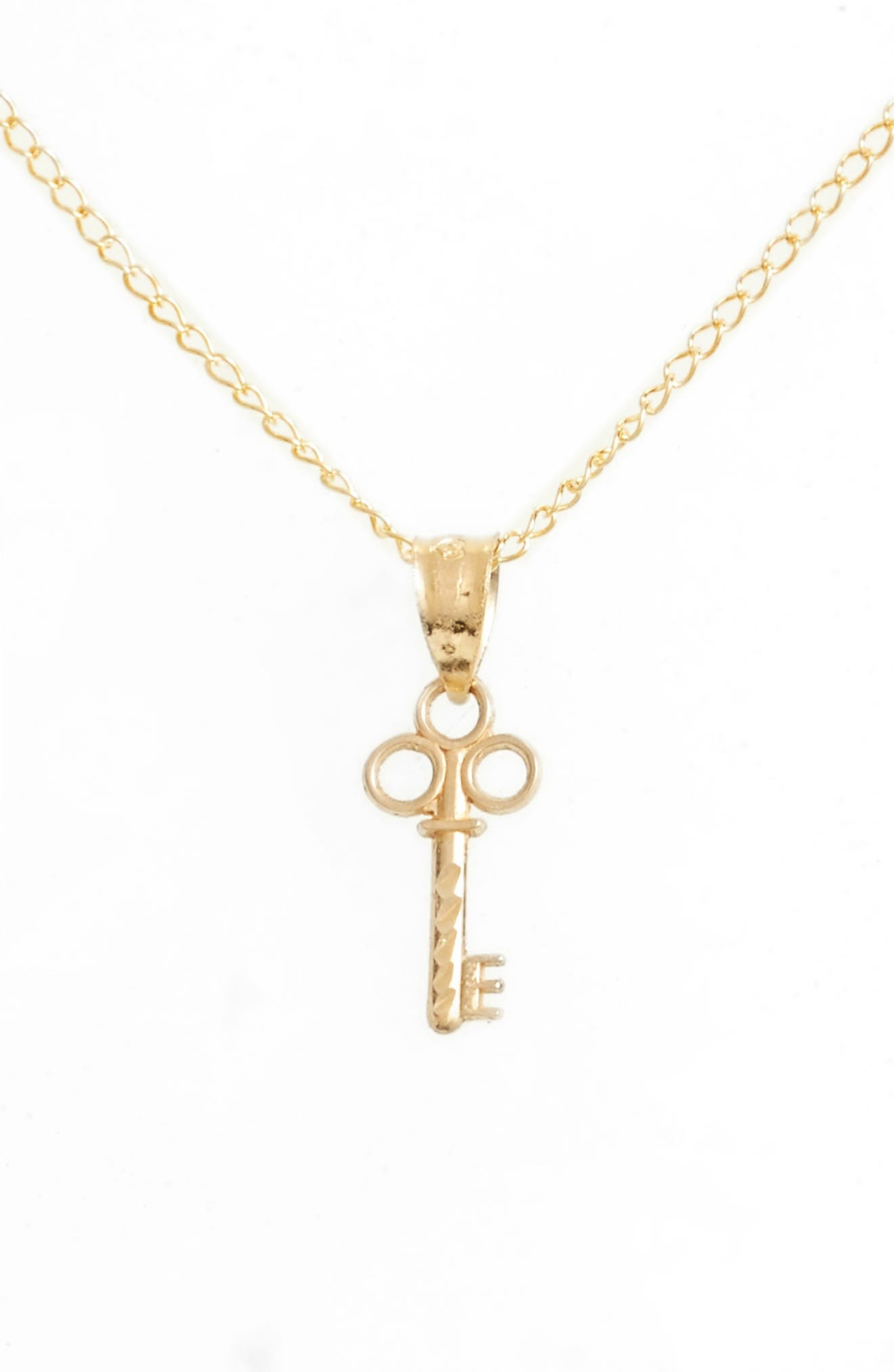 Kardee Kids Key Charm 14k Gold Pendant Necklace,                             Alternate thumbnail 2, color,                             Gold