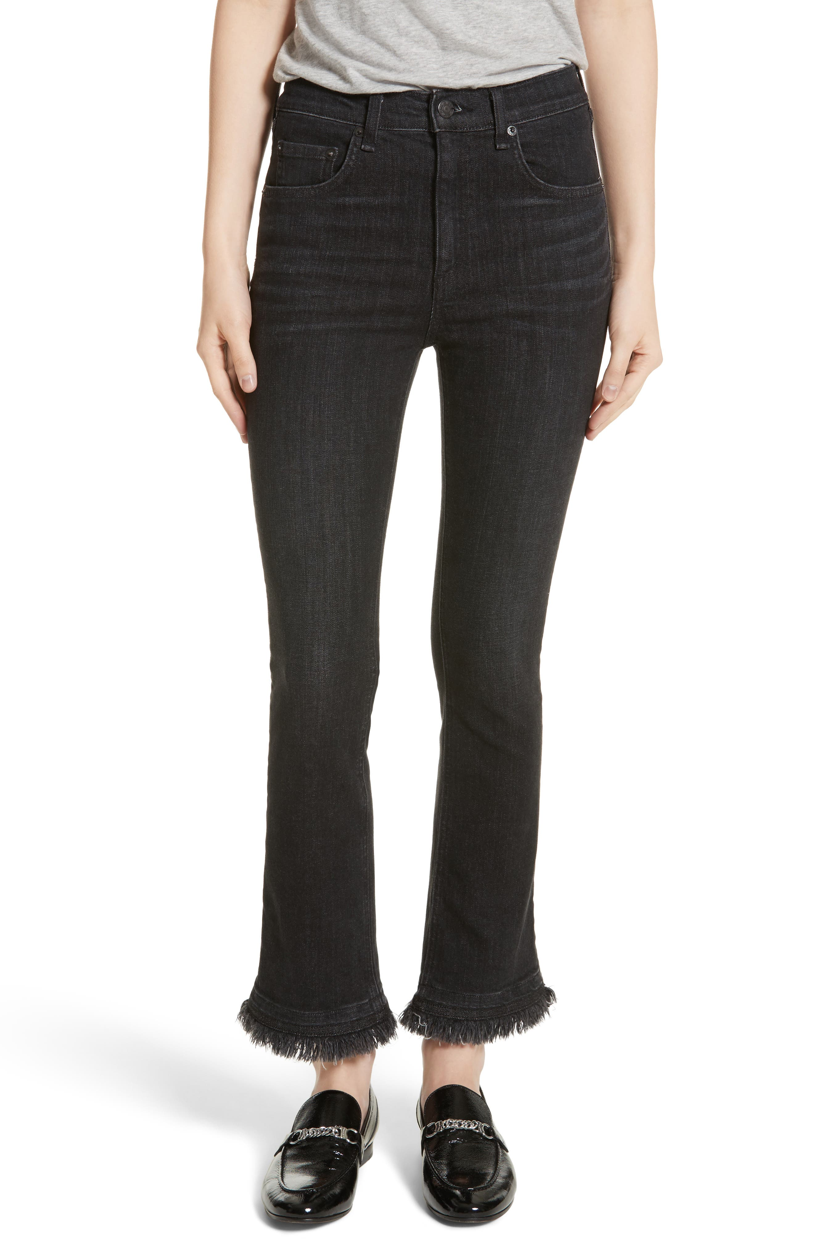 rag & bone/JEAN Hana High Waist Crop Flare Jeans (Black Croyden)