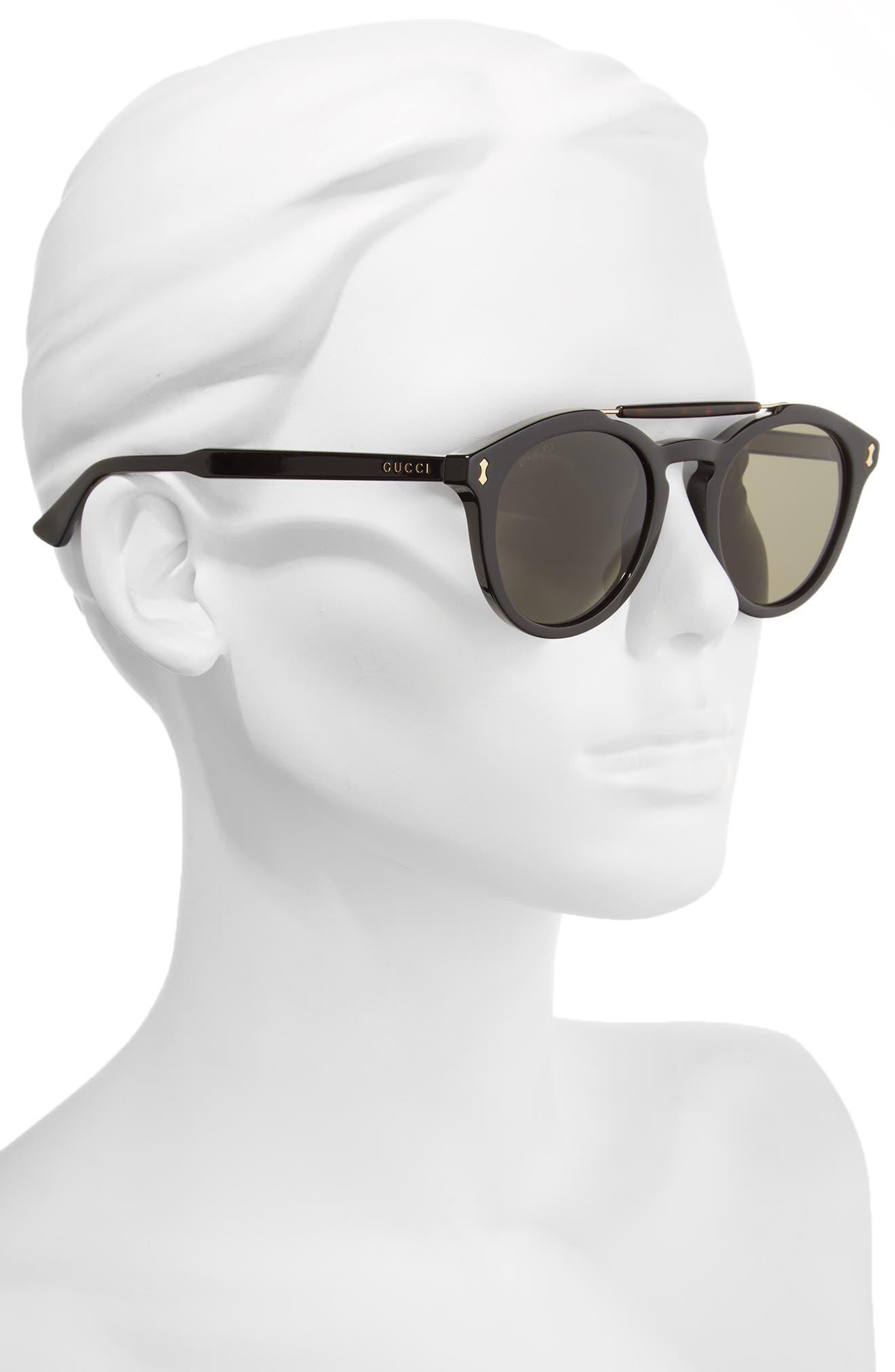 Vintage Pilot 50mm Sunglasses,                             Alternate thumbnail 2, color,                             Black/ Grey