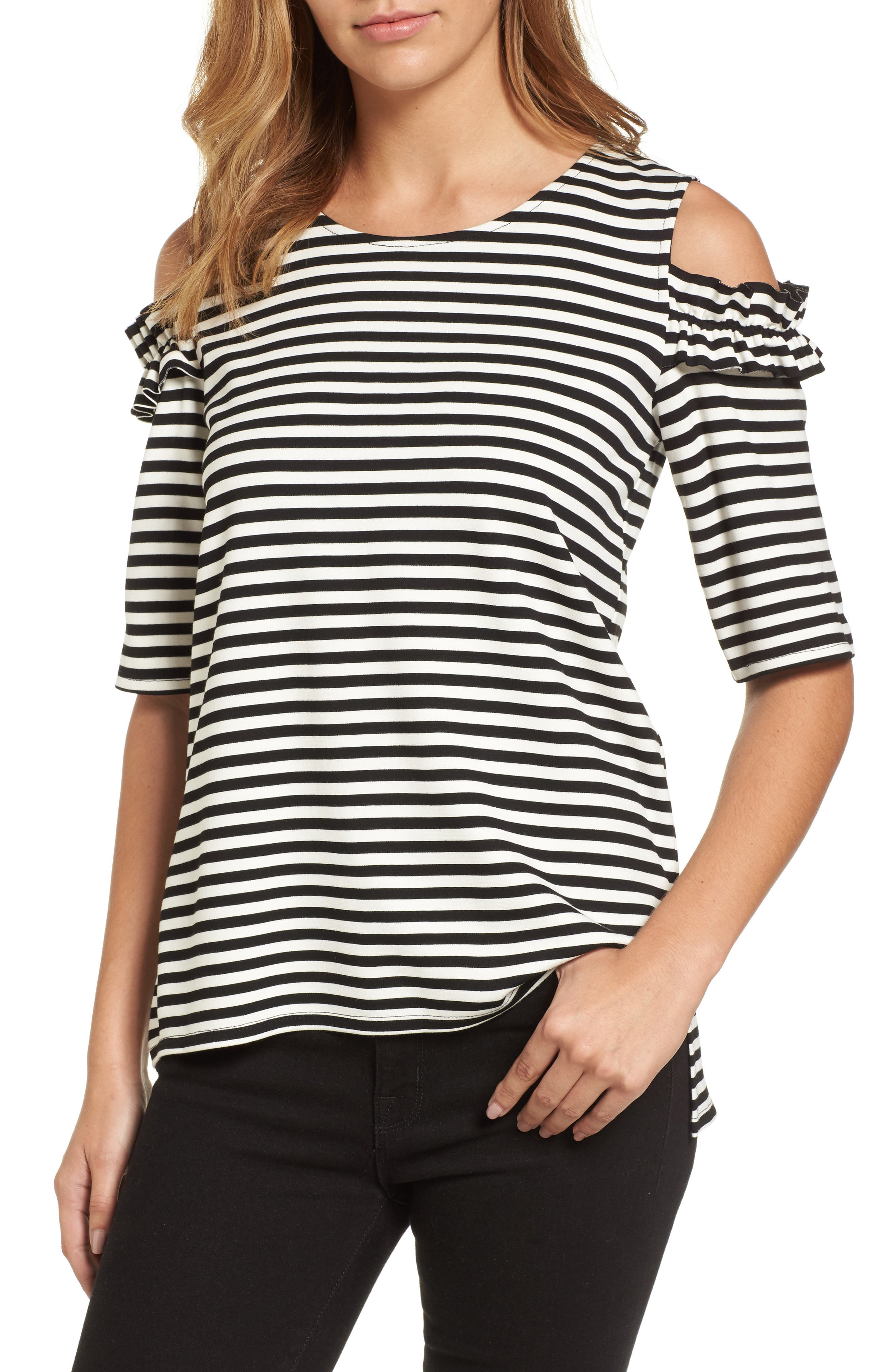 HALOGEN<SUP>®</SUP> Ruffle Cold Shoulder Tee