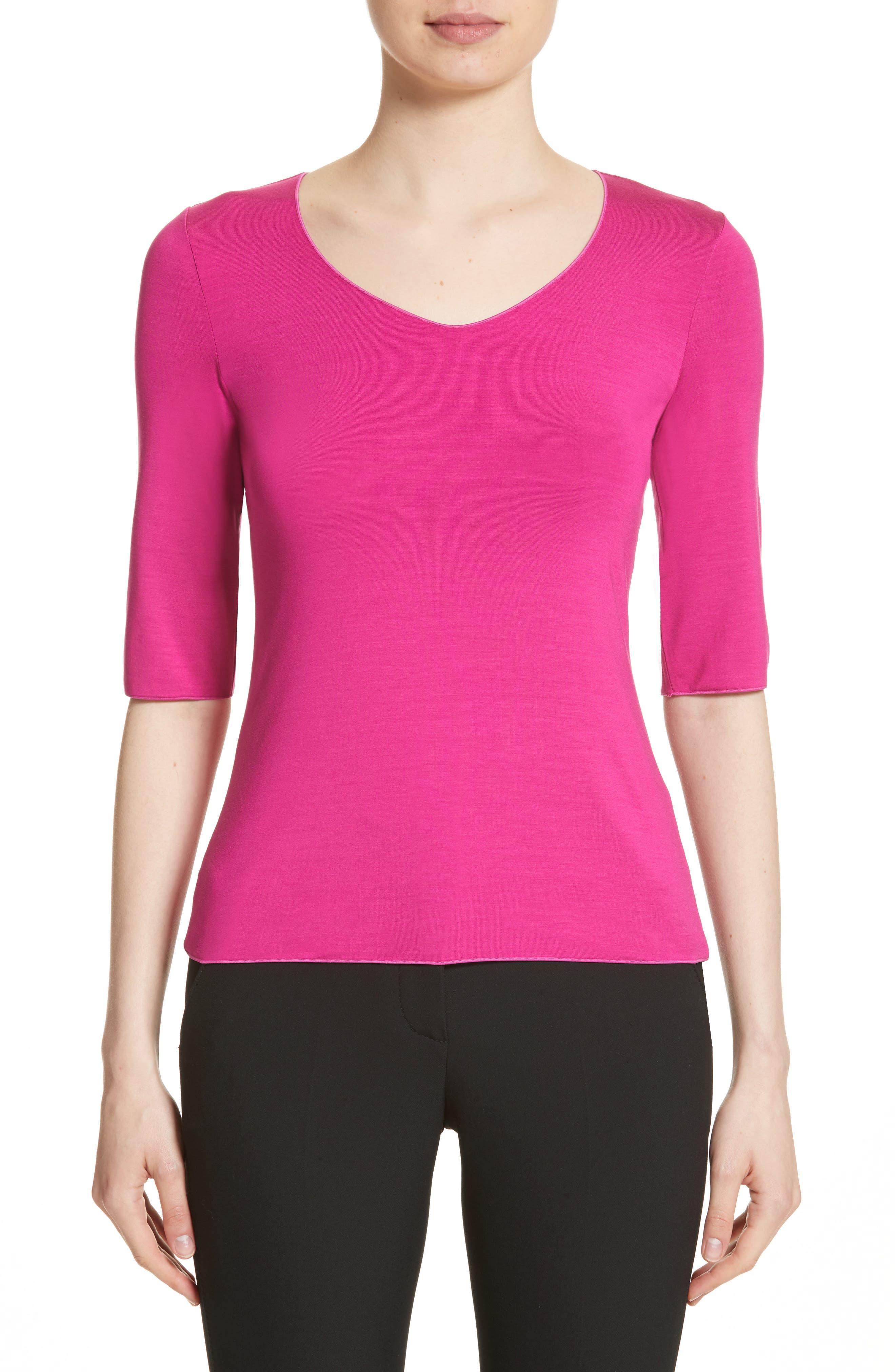 Alternate Image 1 Selected - Armani Collezioni Stretch Jersey Top