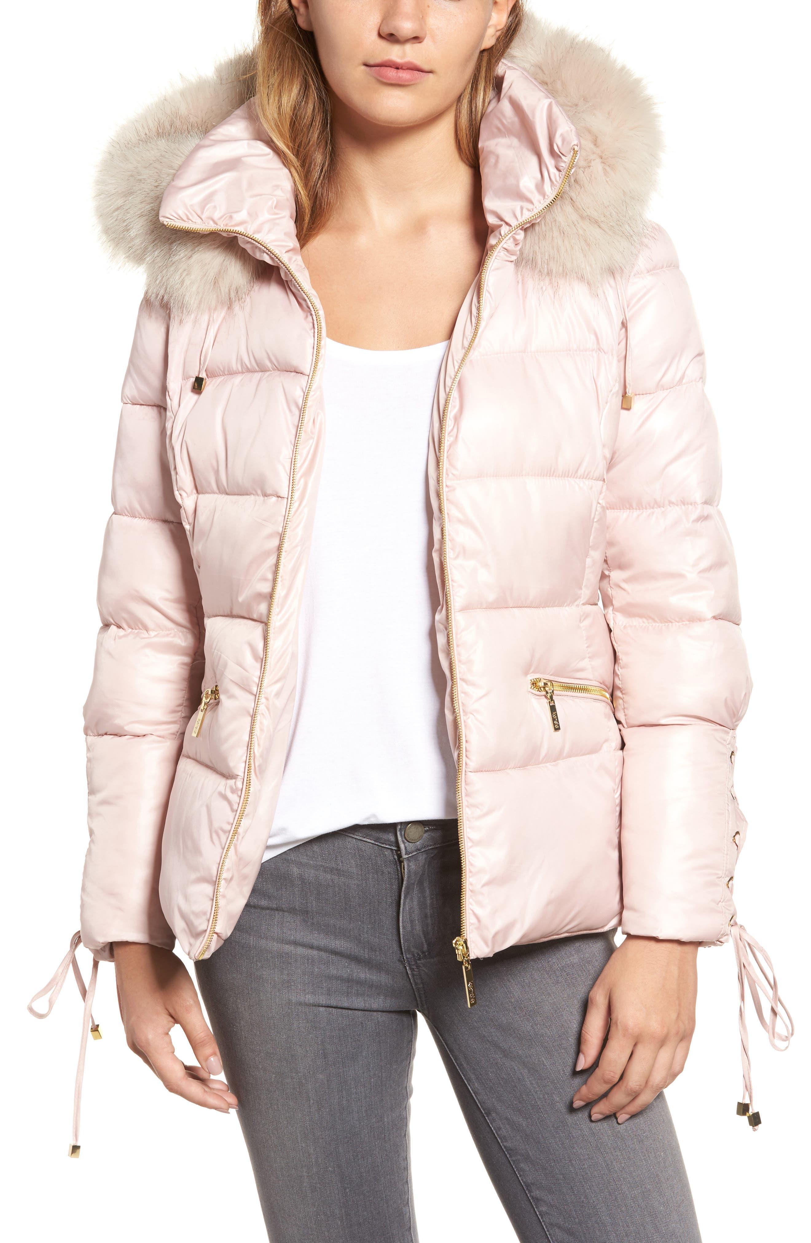 kensie Lace Sleeve Puffer Coat with Faux Fur Trim Hood