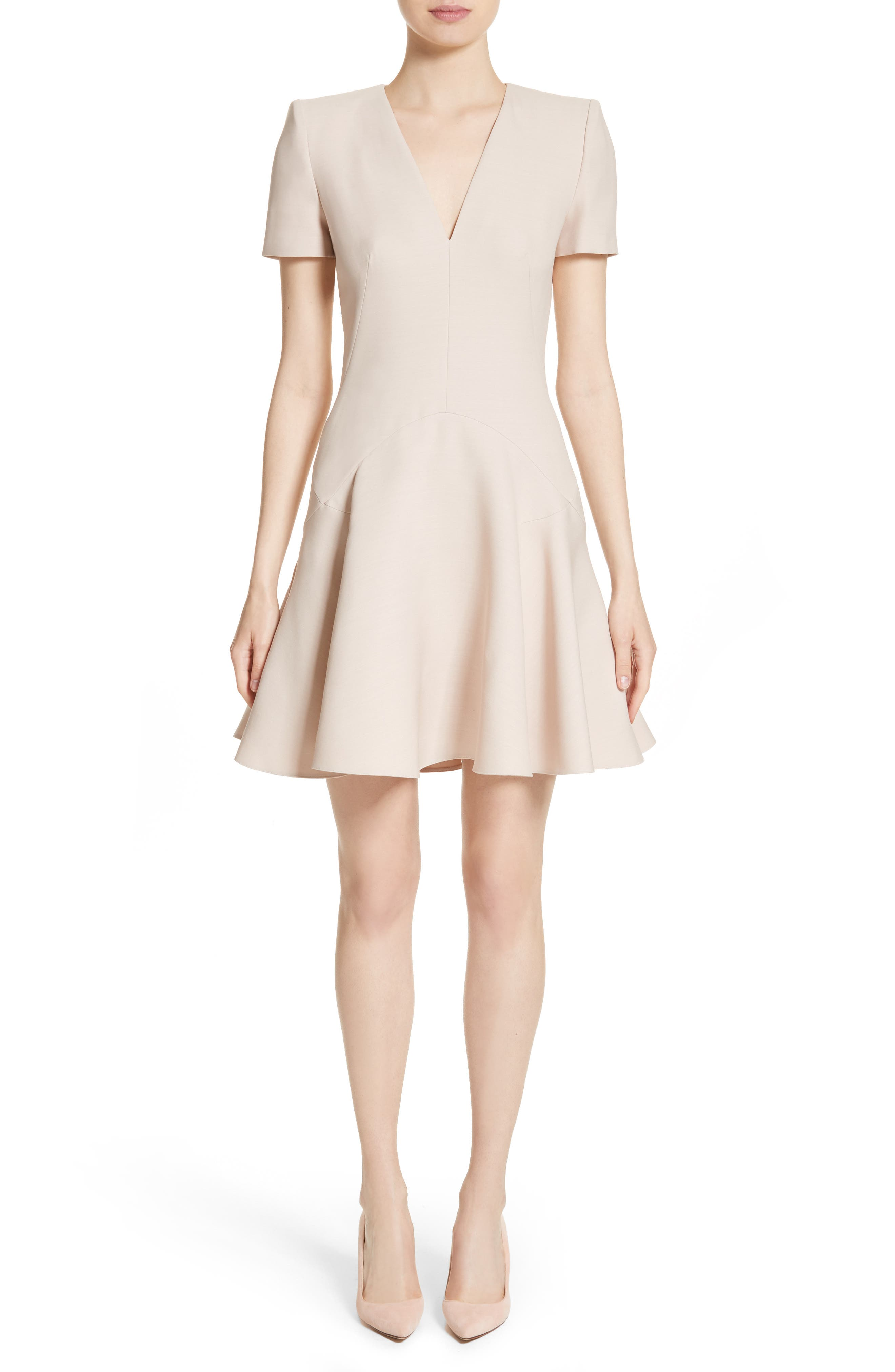 Alexander McQueen Wool & Silk Blend Fit & Flare Dress