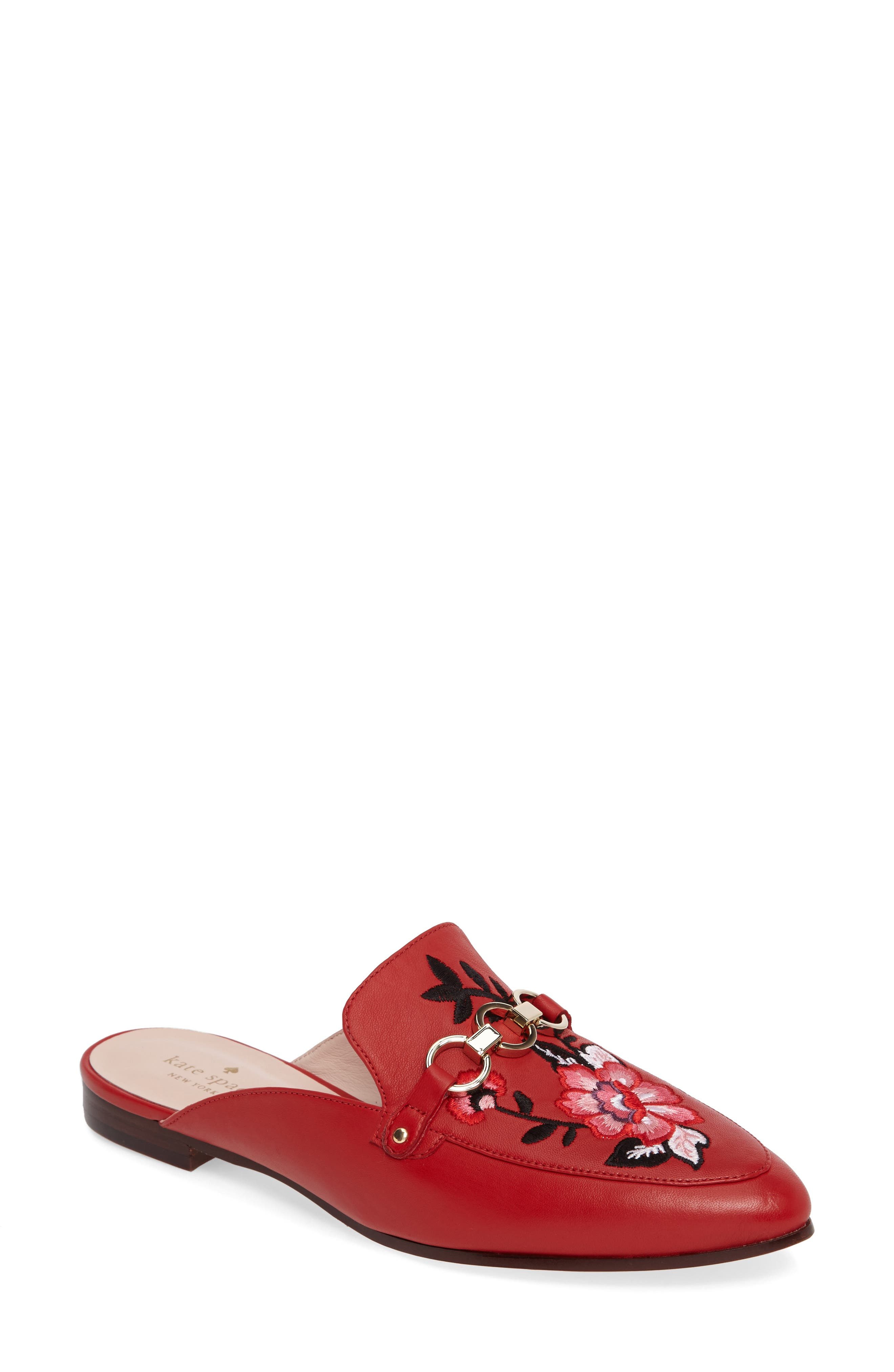 canyon embroidered loafer mule,                             Main thumbnail 1, color,                             Maraschino Red Nappa