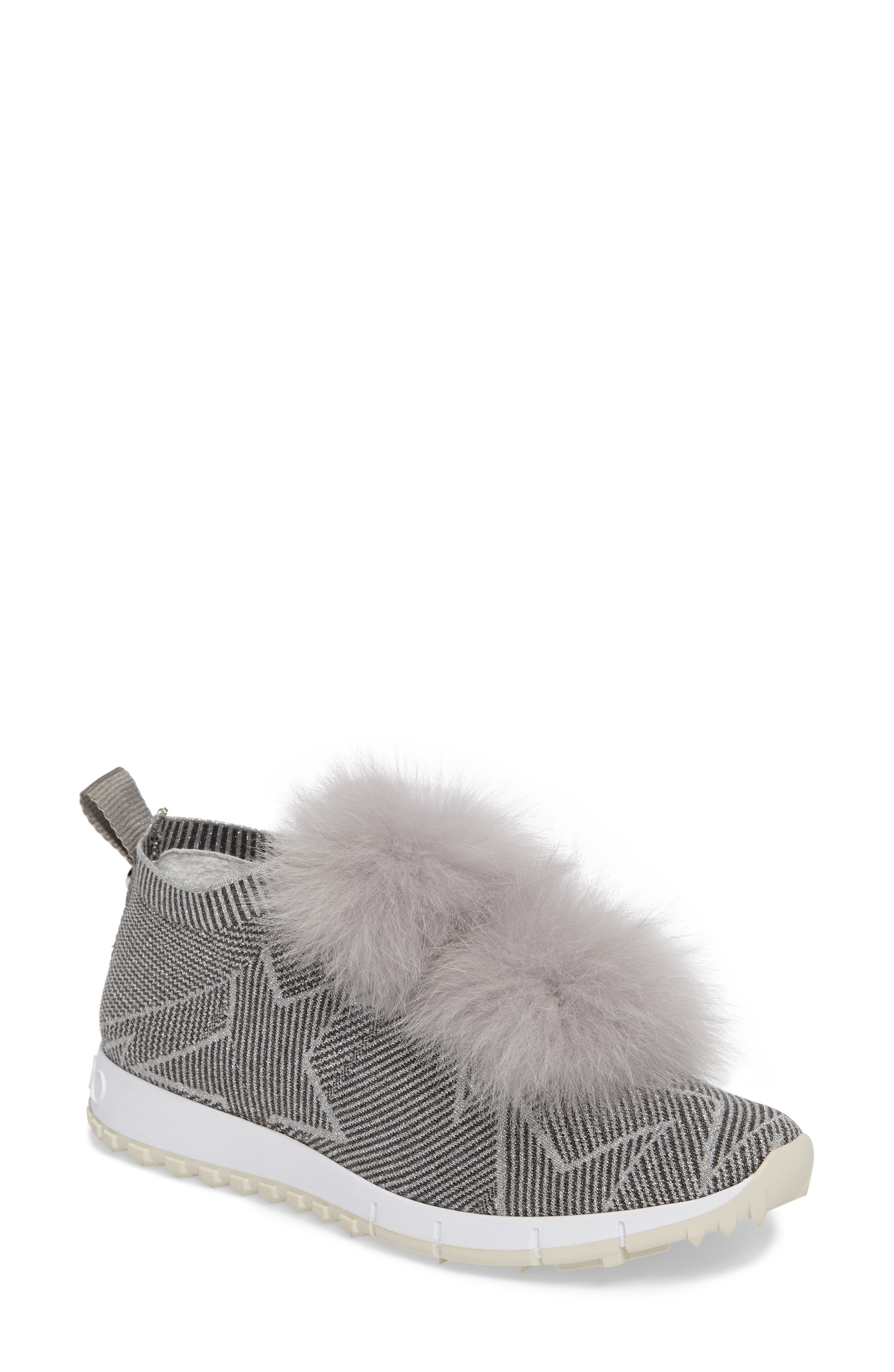 Jimmy Choo Norway Genuine Fox Fur Trim Slip-On Sneaker (Women)