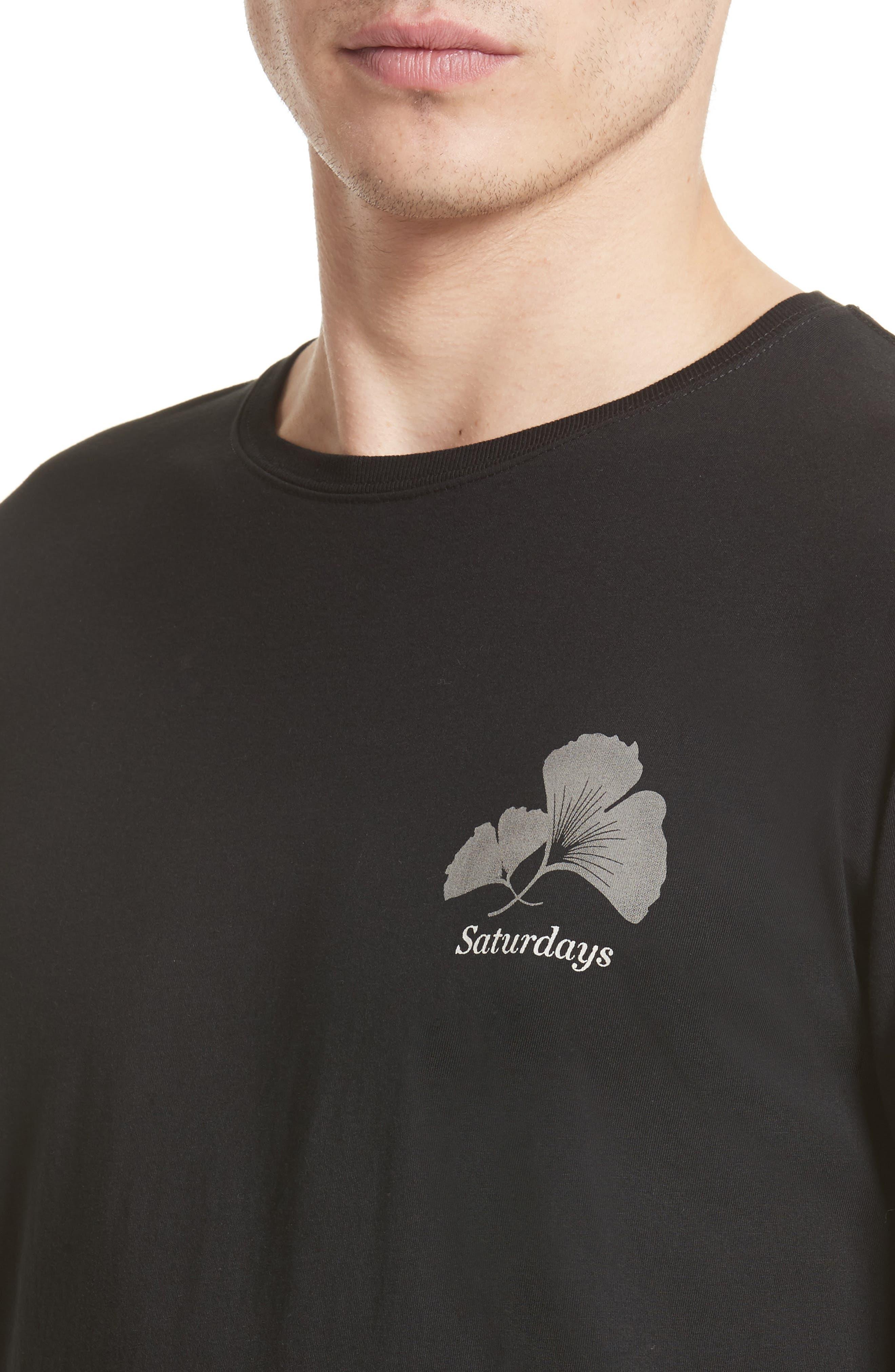 Ginkgo Graphic T-Shirt,                             Alternate thumbnail 4, color,                             Black