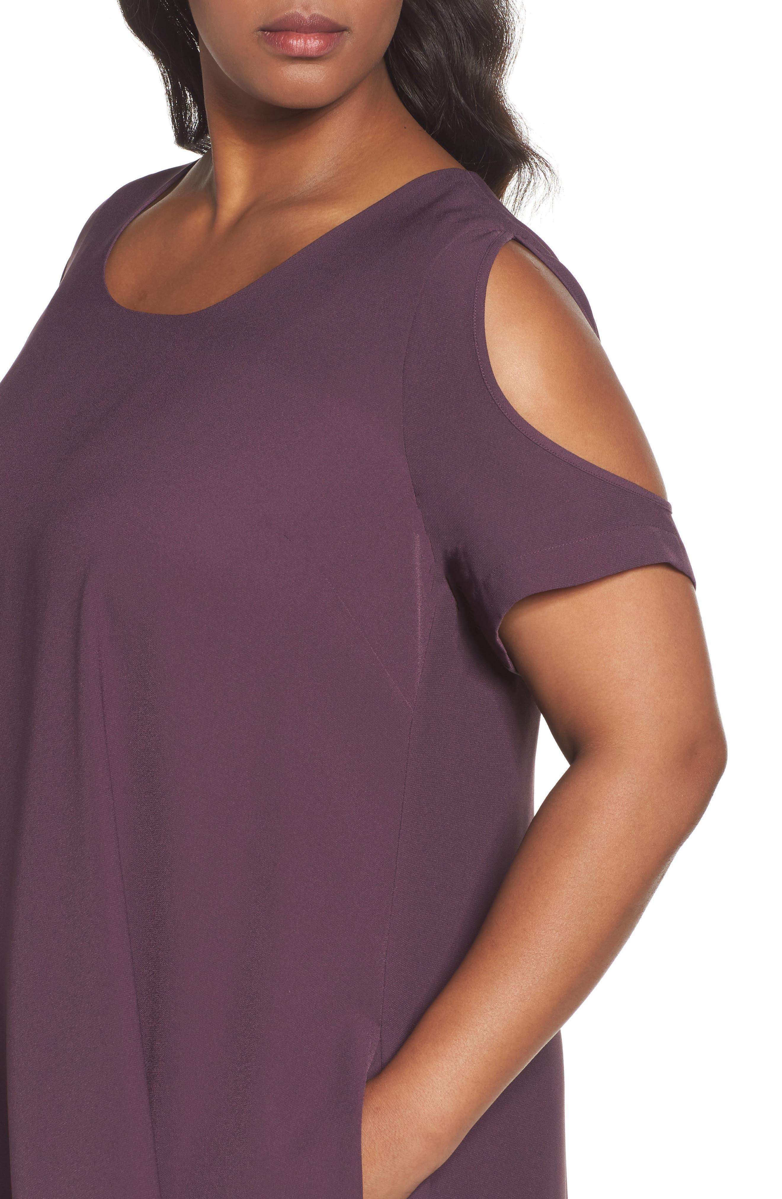 Cold Shoulder Swing Dress,                             Alternate thumbnail 4, color,                             Purple Plum