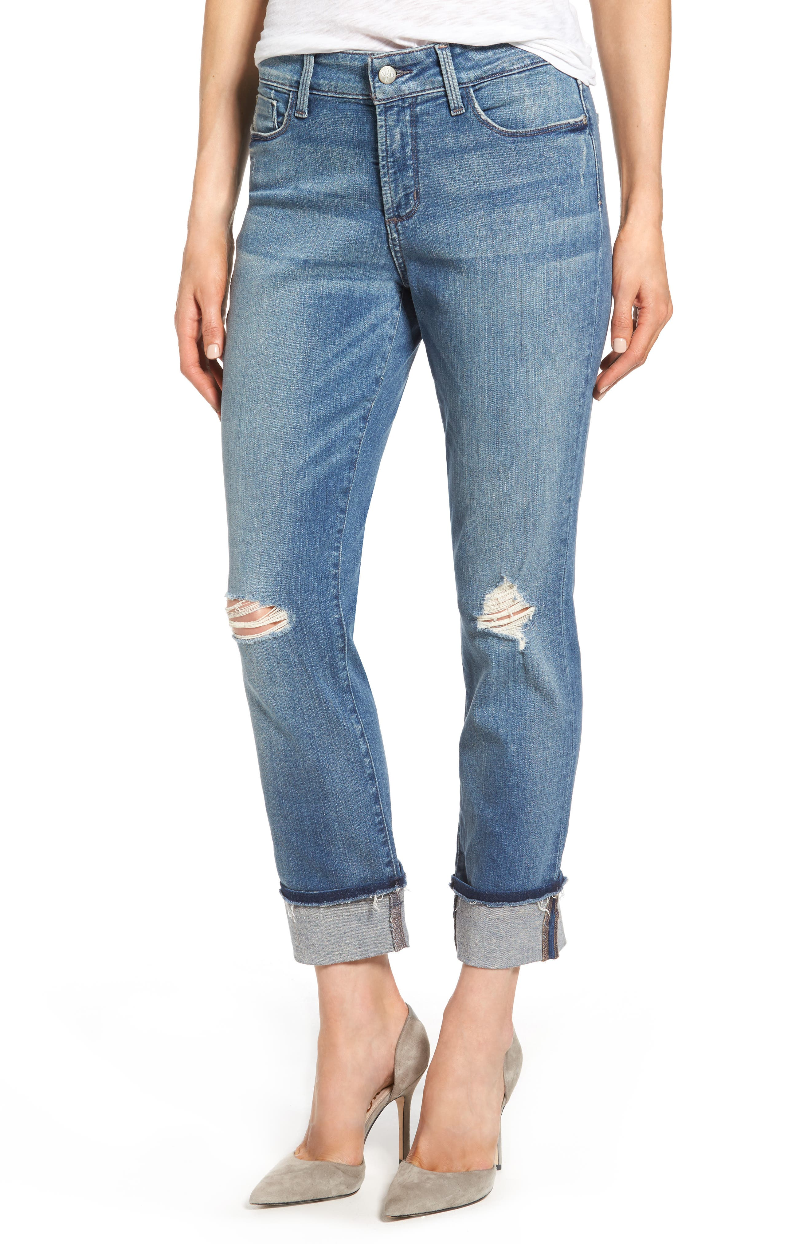 Alternate Image 1 Selected - NYDJ Jessica Distressed Fray Cuff Boyfriend Jeans (Paloma Rip)